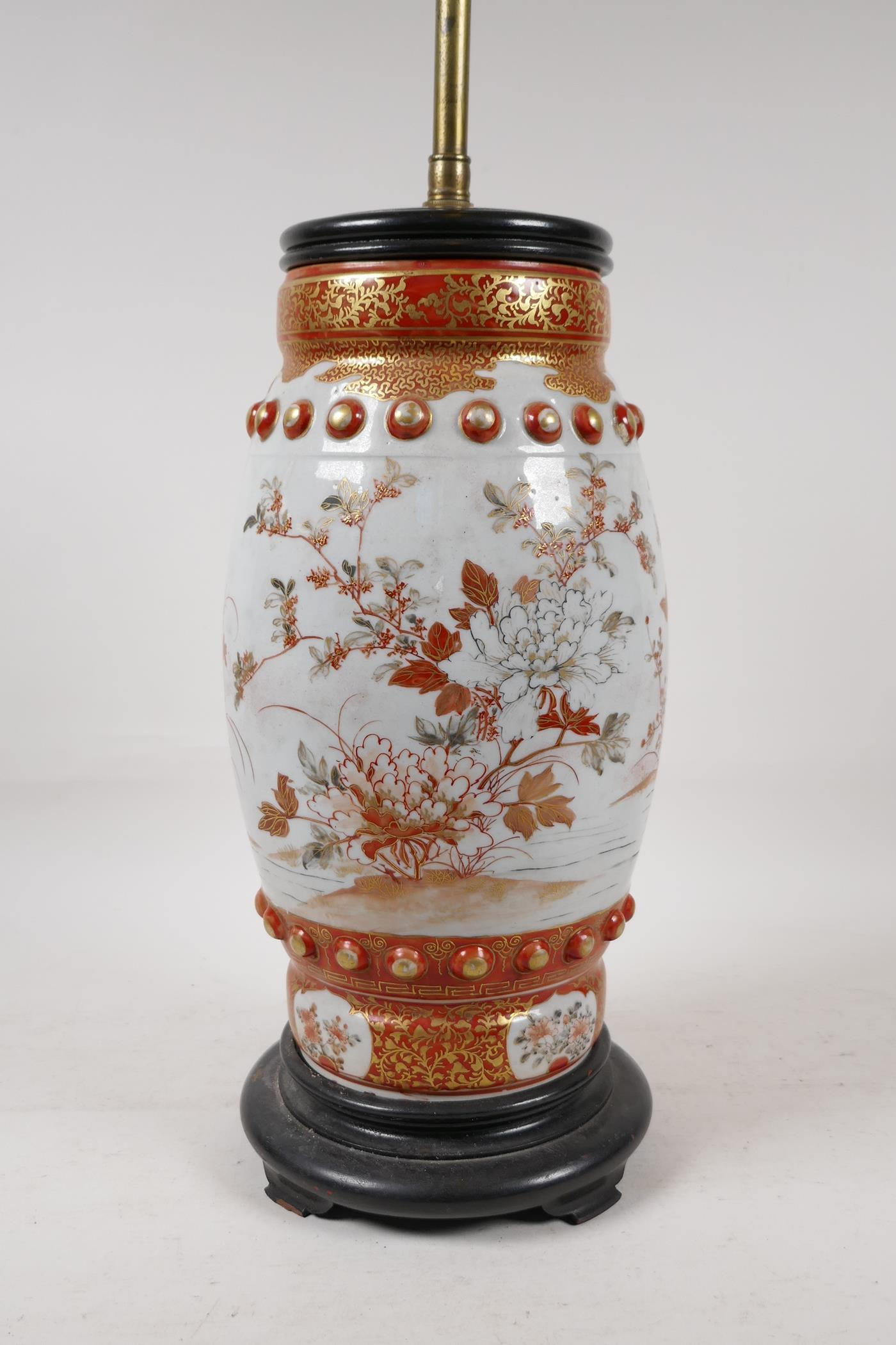 A Japanese Meiji period satsuma pottery vase decorated with flowers and butterflies, converted to - Image 3 of 5