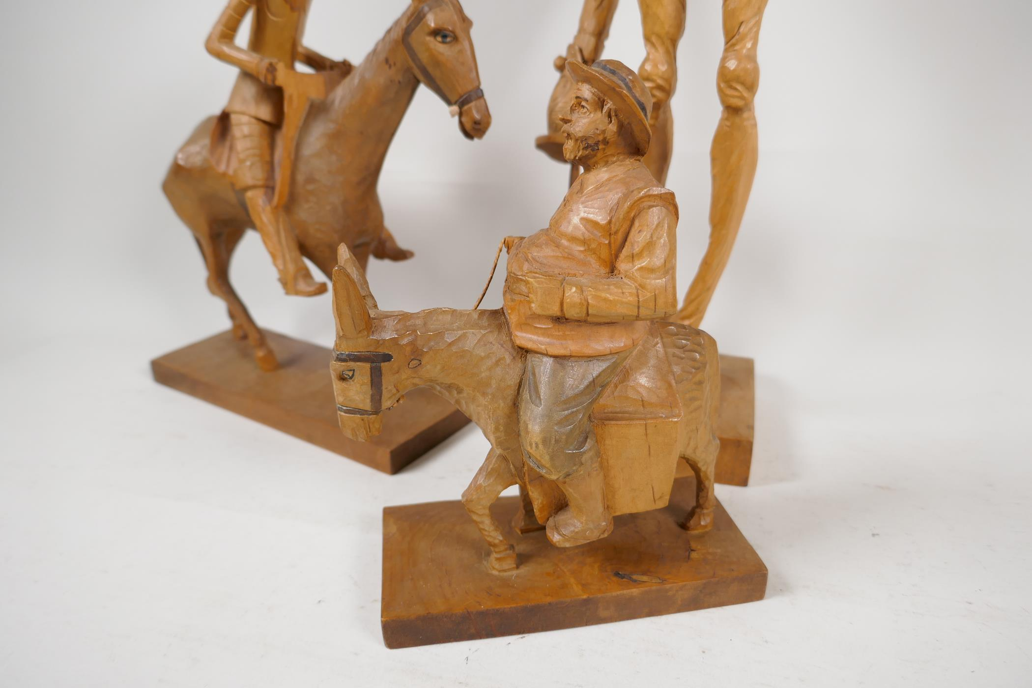 Two carved wood models of Don Quioxte and Sancho Panza, and a carved wood figure of the Don, A/F - Image 5 of 6