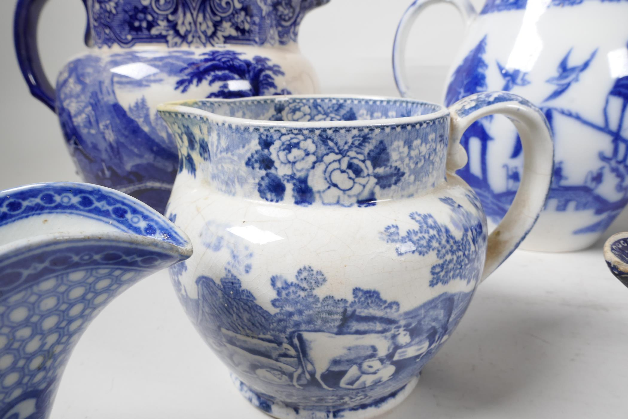 """Six blue and white transfer printed jugs and three gravy boats, various patterns, largest 6"""" high - Image 7 of 8"""