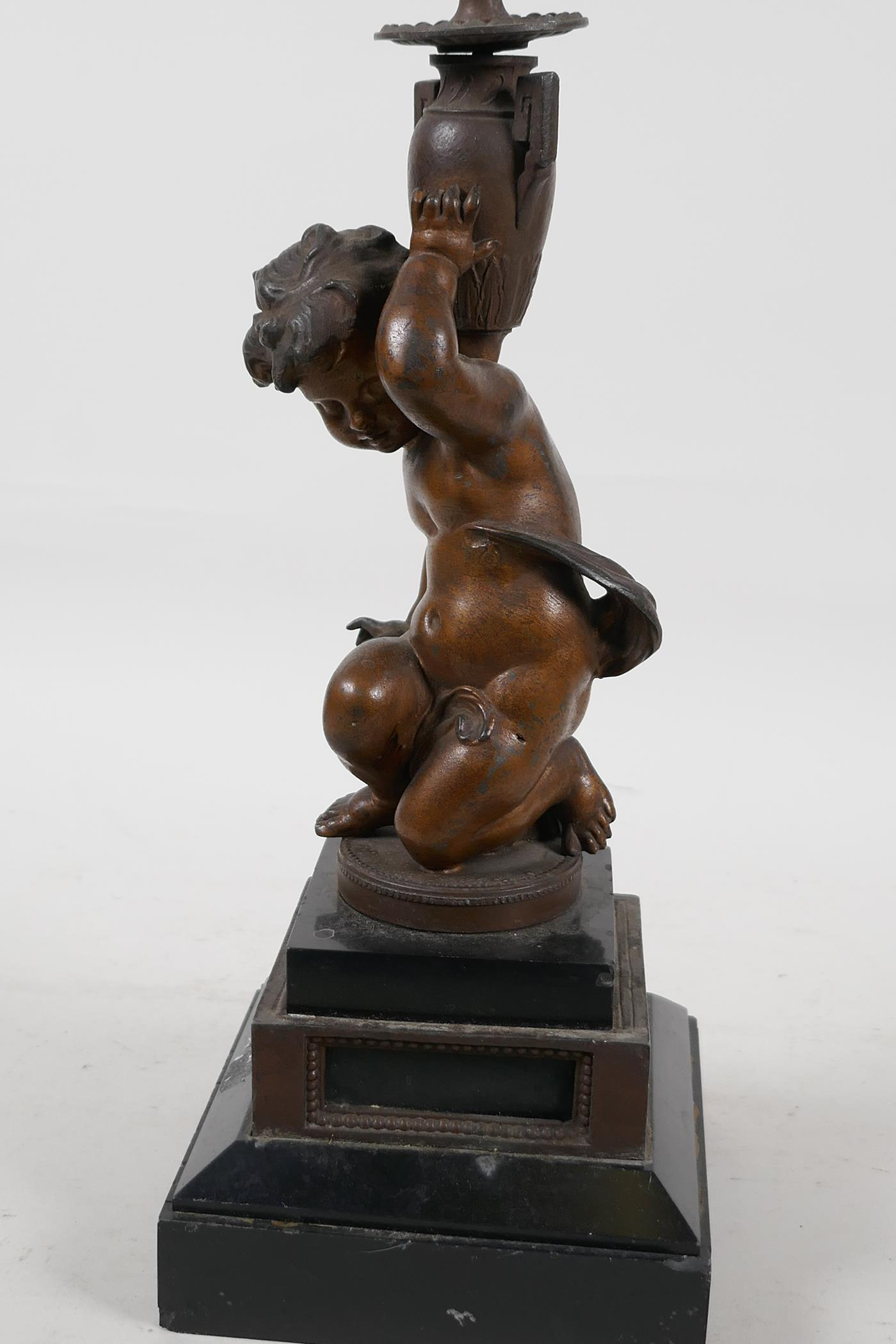 """A C19th bronze candlestick cast as a cherub, raised on stepped marble base, 13"""" high - Image 6 of 6"""