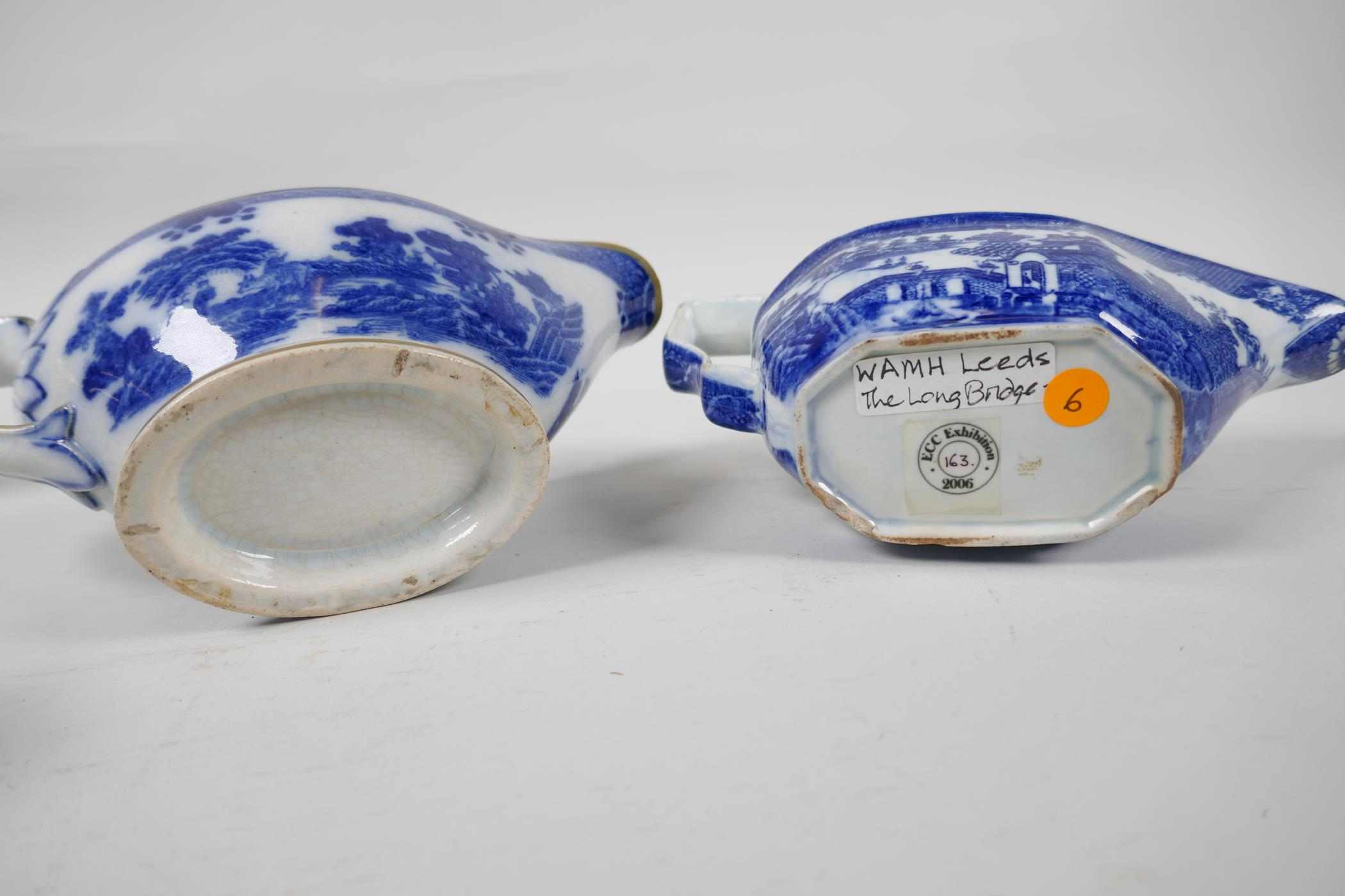 Five late C18th/early C19th English blue and white pottery sauce boats to include Boy on a Buffalo - Image 8 of 9