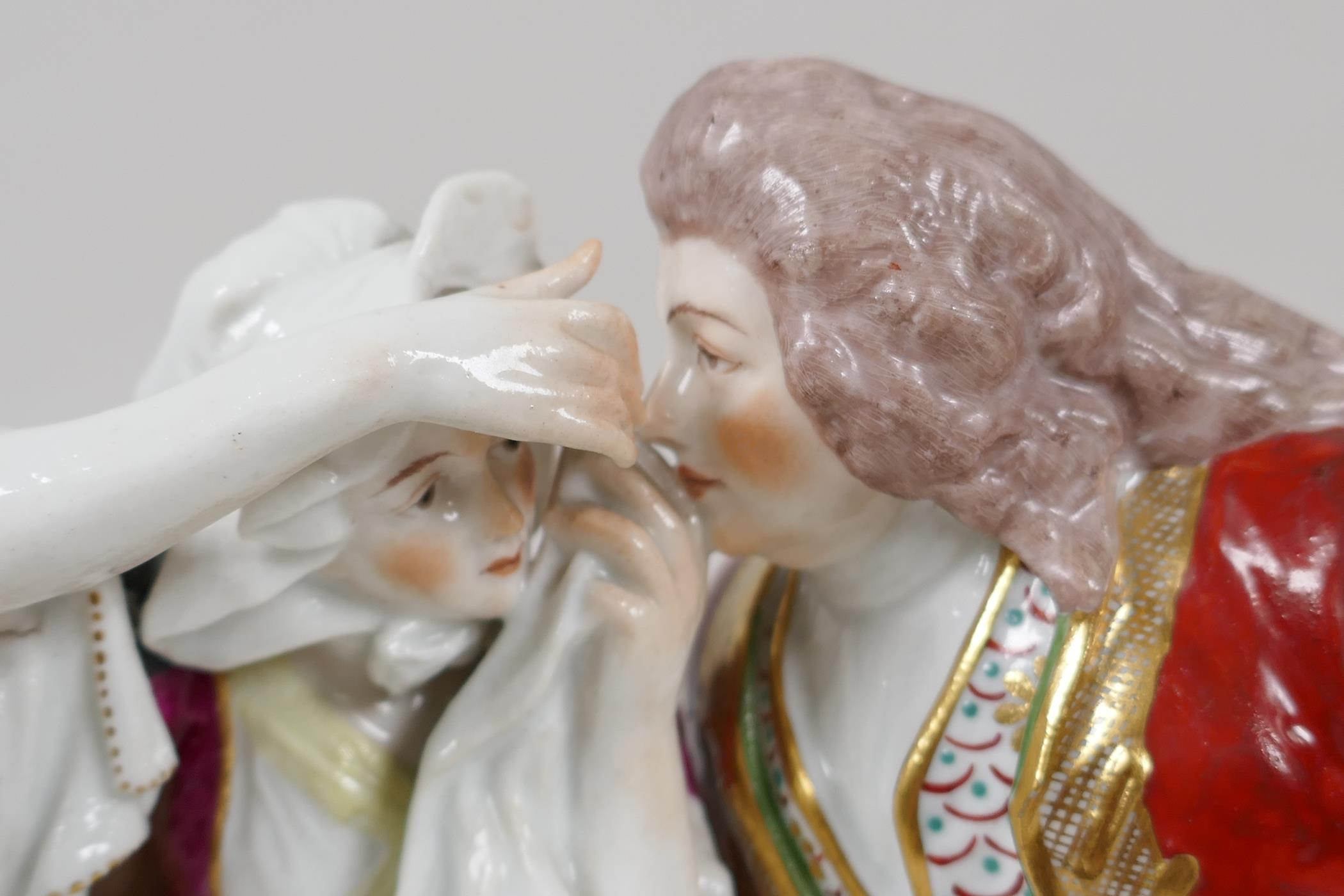 """A continental porcelain figure of a Regency couple seated on a bench, 10"""" wide - Image 2 of 5"""