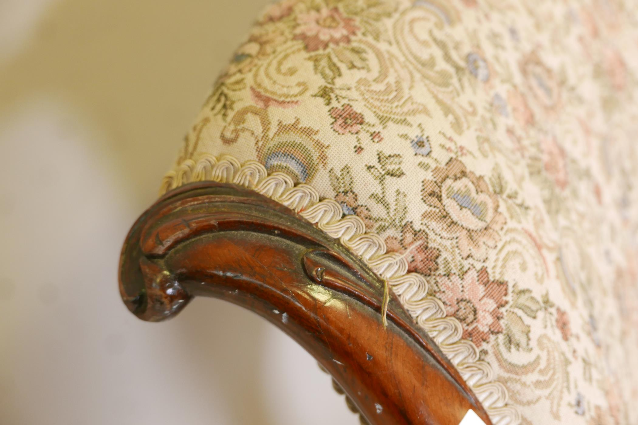 A Victorian rosewood show frame open arm easy chair, with scrolled back and shaped arms, raised on - Image 6 of 7