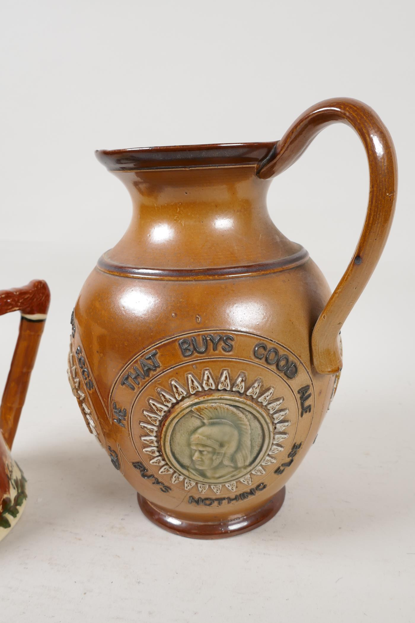 A Doulton Lambeth stoneware jug bearing the legend 'He that buys good ale' embossed with various - Image 5 of 5