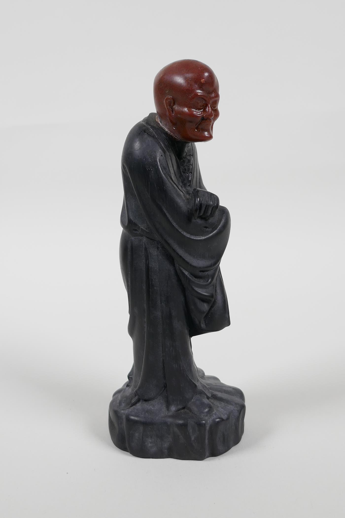"""A Chinese carved Zitan wood figure of Lohan with soapstone head, 6"""" high - Image 2 of 6"""