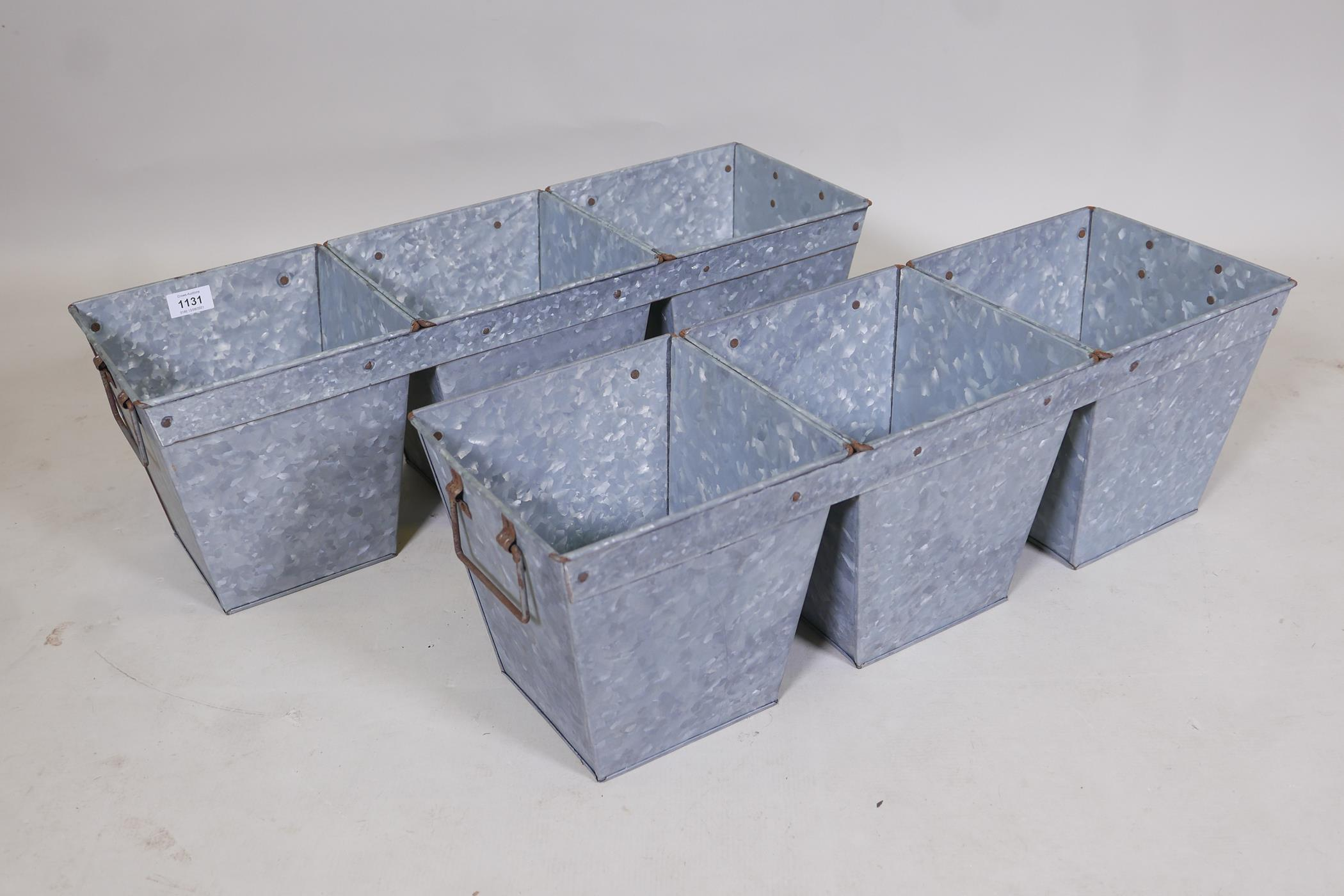 """A pair of three section galvanised metal planters, 9"""" x 9"""" x 7"""""""