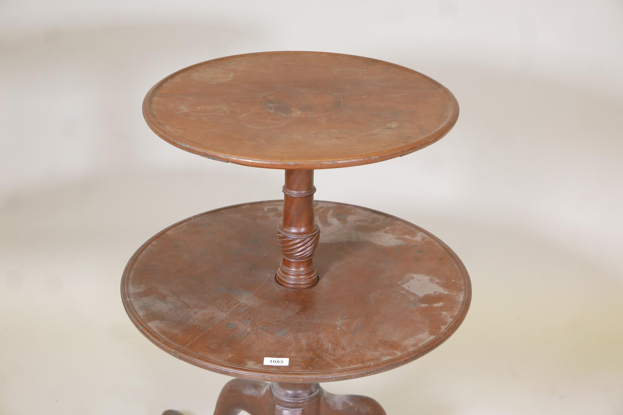 A George III mahogany two tier dumb waiter on a turned and carved column and tripod supports, A/F - Image 2 of 2