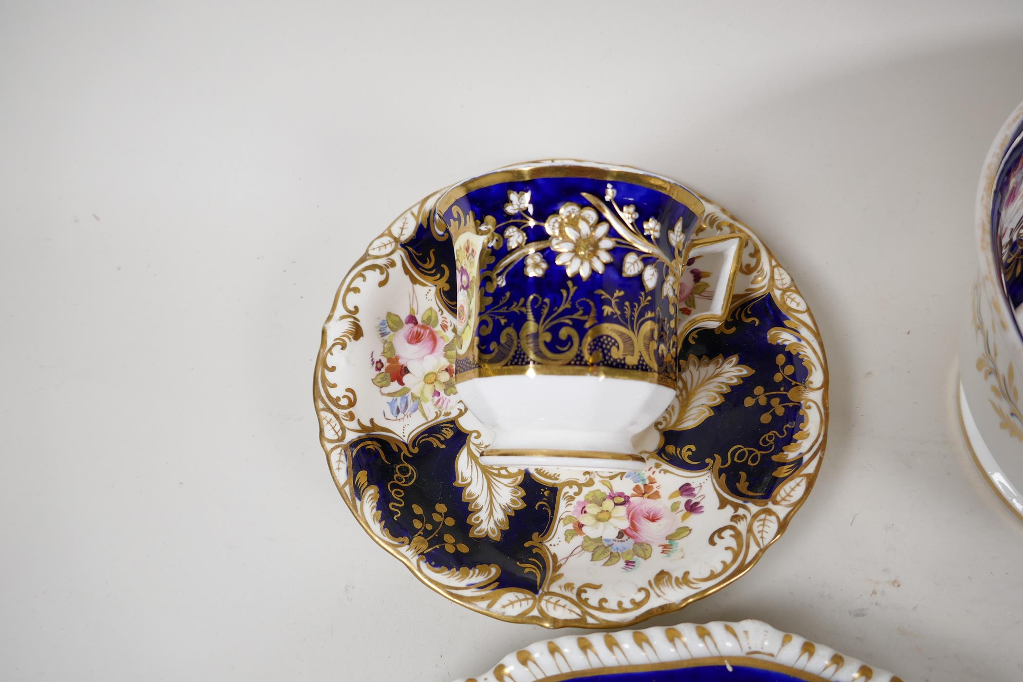 """A Crown Derby sauce tureen and cover, with hand painted flowers and gilt highlights, 6½"""" wide, and - Image 4 of 7"""