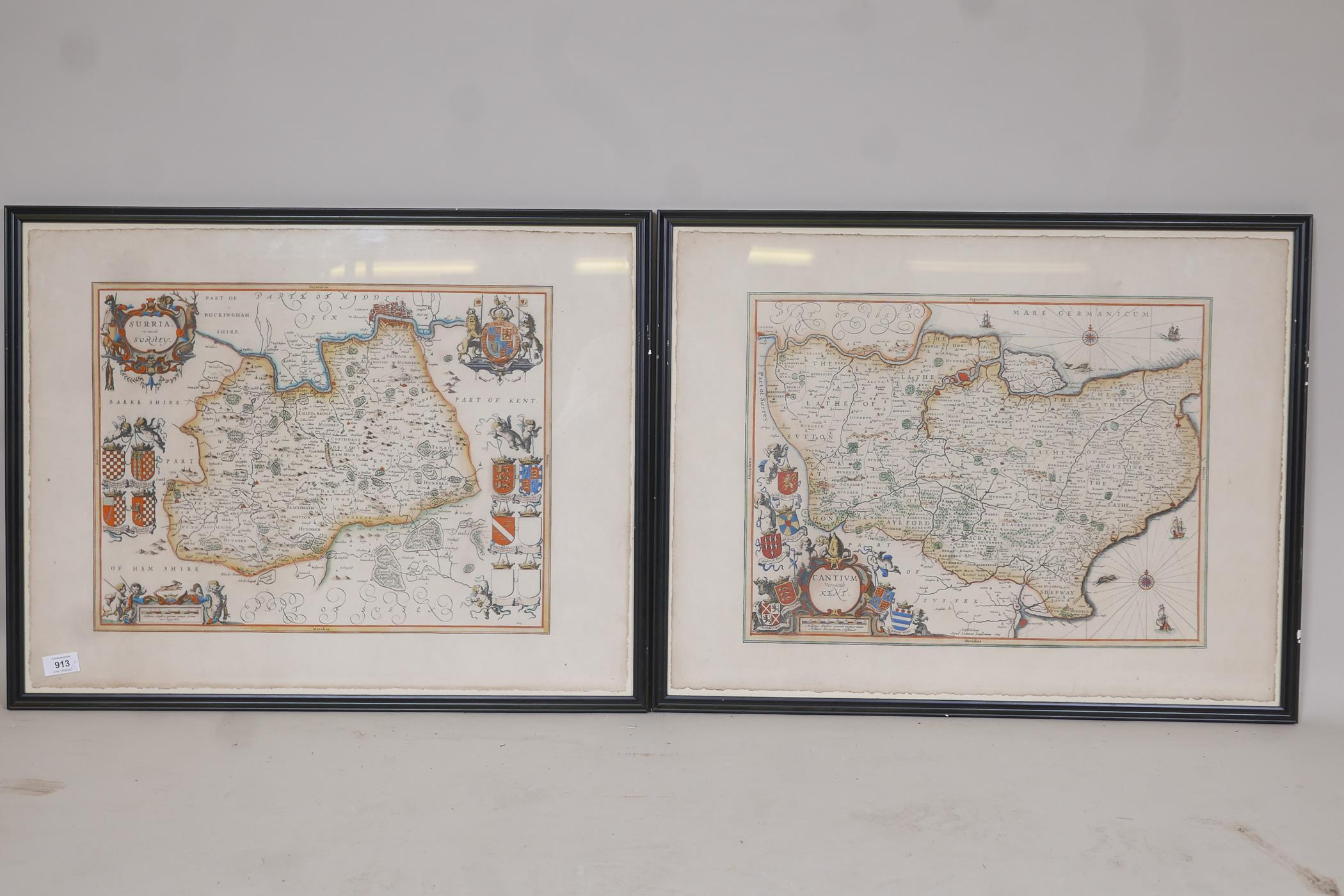 Map of Kent, Cantium vernacule Kent, and another of Surrey, Surria vernacule Surrey, both hand