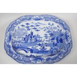 """A C19th Spode 'Gothic Castle' pattern blue and white meat plate, 20"""" x 15"""""""