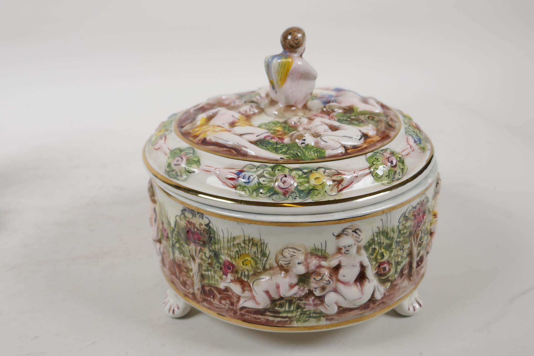"""A C19th continental porcelain inkwell modelled as two children on a seesaw, 6"""" high, and a - Image 4 of 6"""