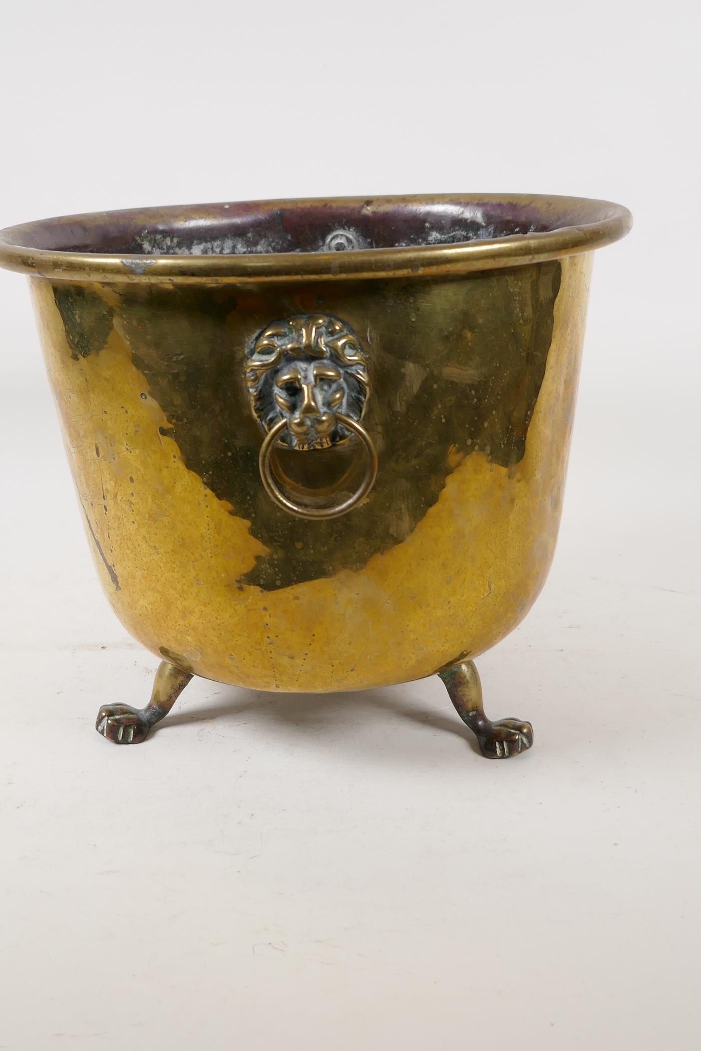 """A C19th polished brass jardiniere with lion mask handles and three paw feet, 9"""" high - Image 2 of 4"""