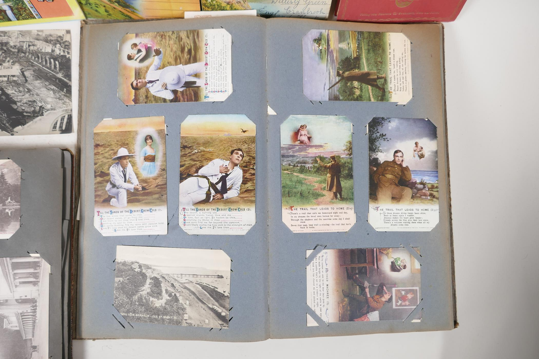 A quantity of C20th postcards, mostly WWI sweetheart cards, and French topographical, and a - Image 4 of 7
