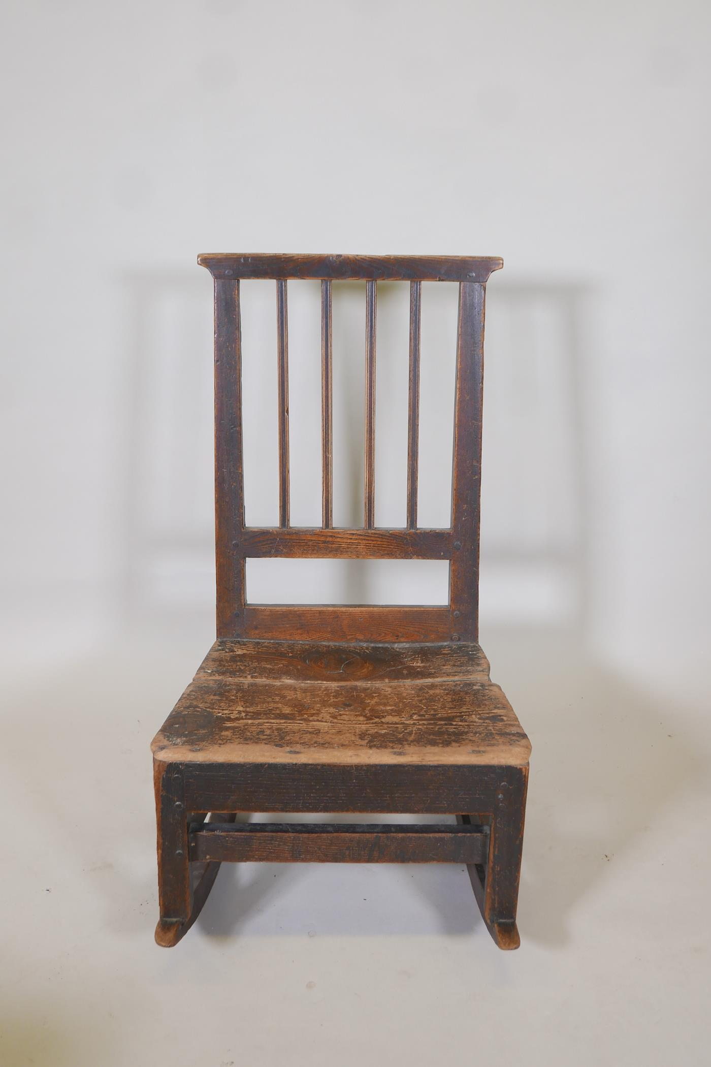 An C18th elm ladderback rocking chair - Image 2 of 2