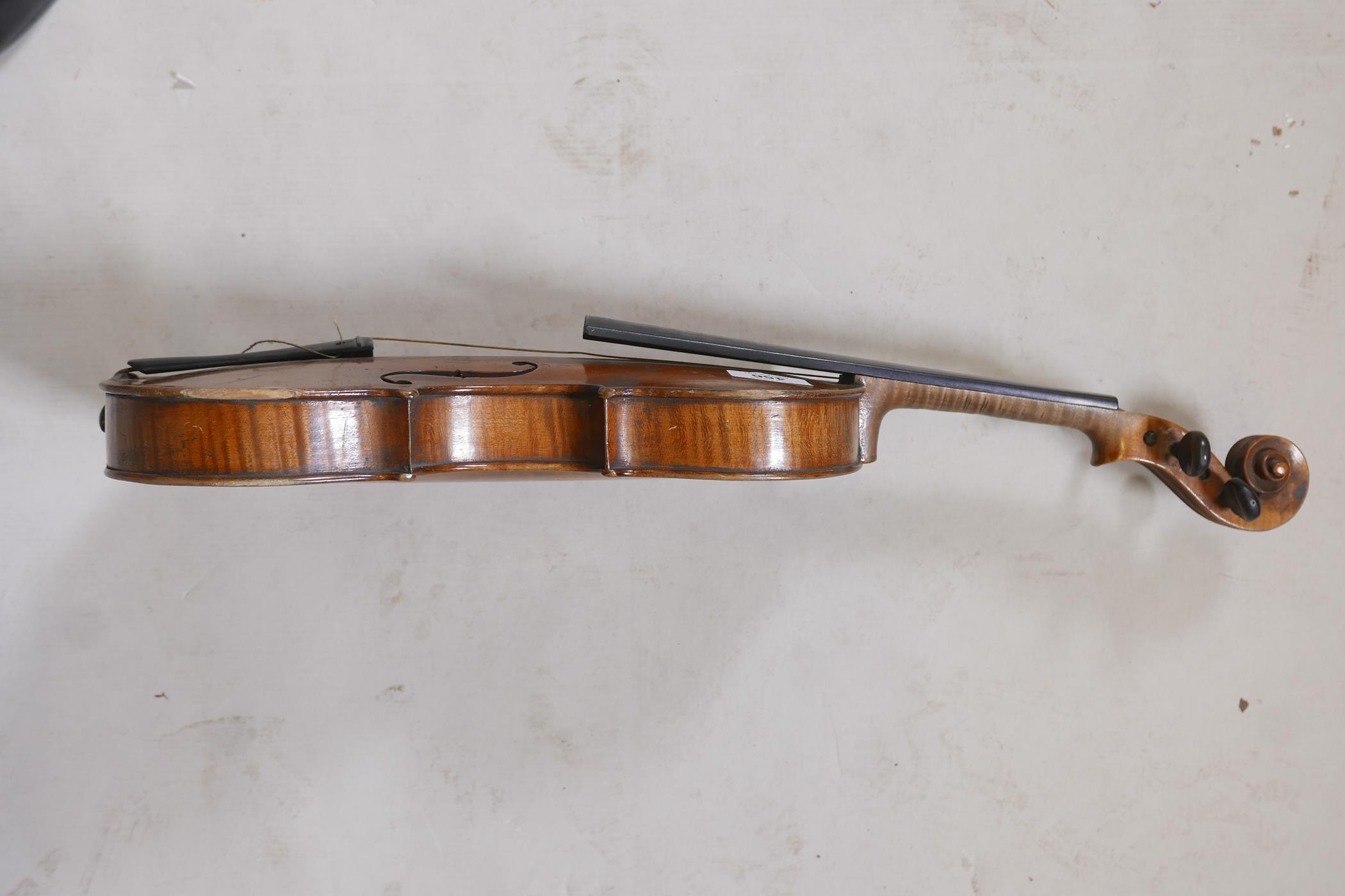 """An antique violin and bow in case, bears label Andreas Amati fecit, Cremonae anno 1604, back 14½"""" - Image 4 of 14"""