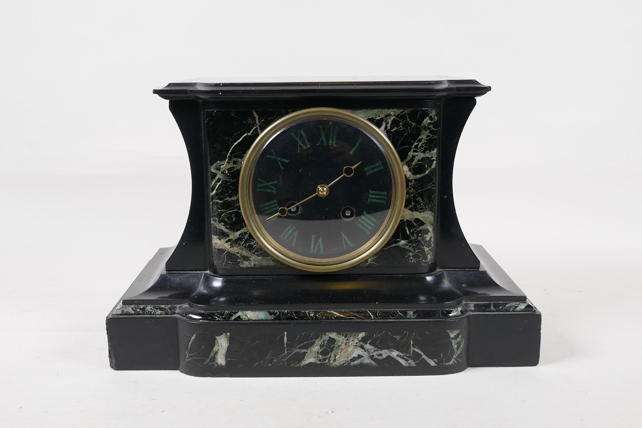 A C19th French vert de mer marble and slate mantel clock with inset malachite Roman numerals, the