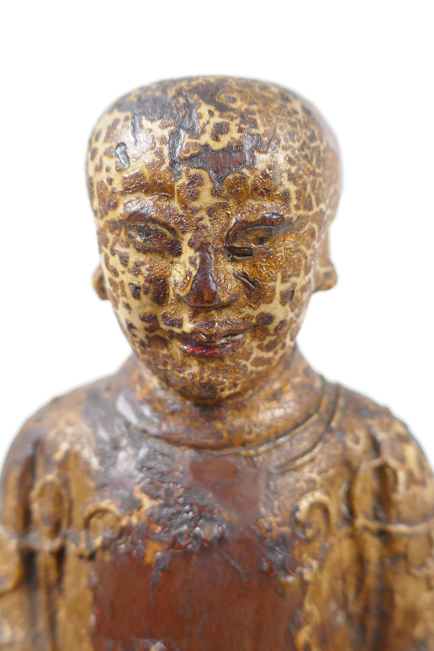 """A Chinese carved wood figure of a dignitary seated on a throne, traces of paint, 9"""" high - Image 6 of 6"""