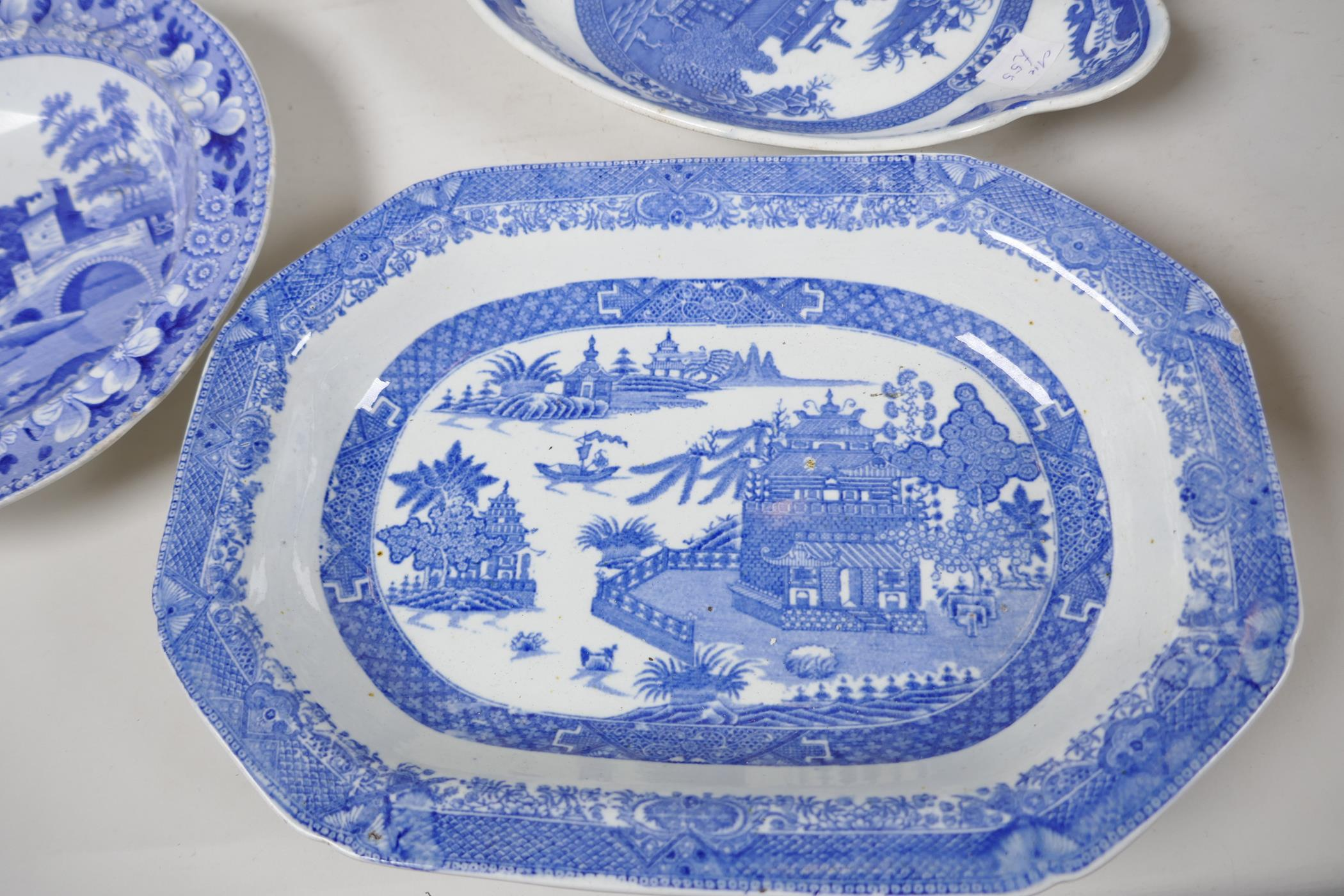 """A quantity of C19th blue and white pottery to include a crescent shaped tureen, 13"""" wide, a petal - Image 4 of 4"""
