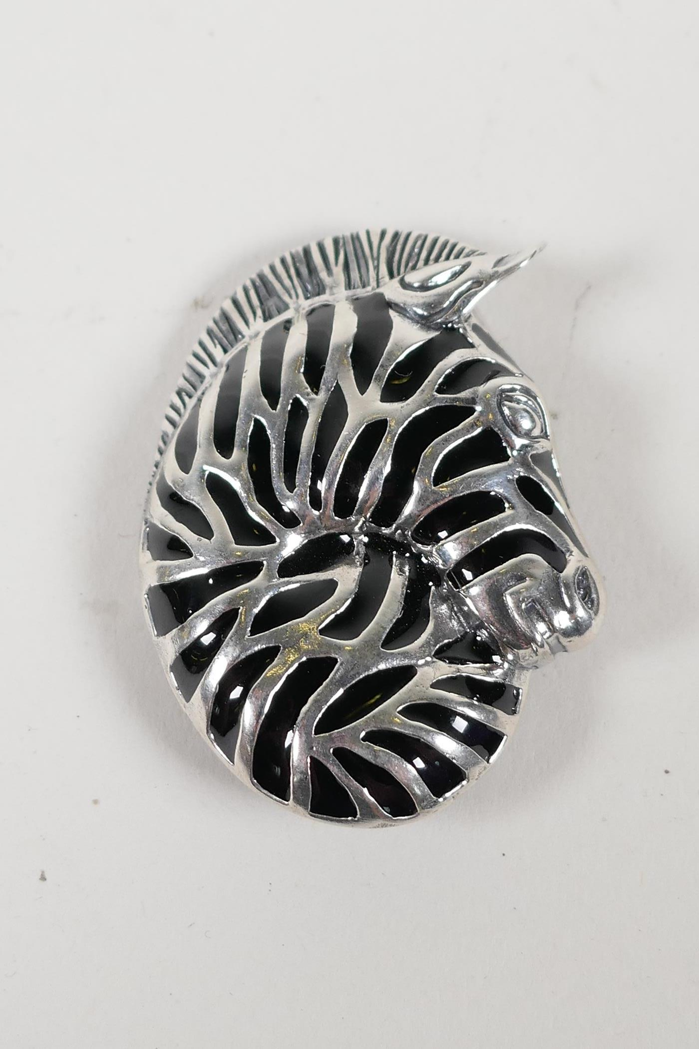 """A 925 silver and plique a jour zebra brooch, 1½"""" x 1"""""""
