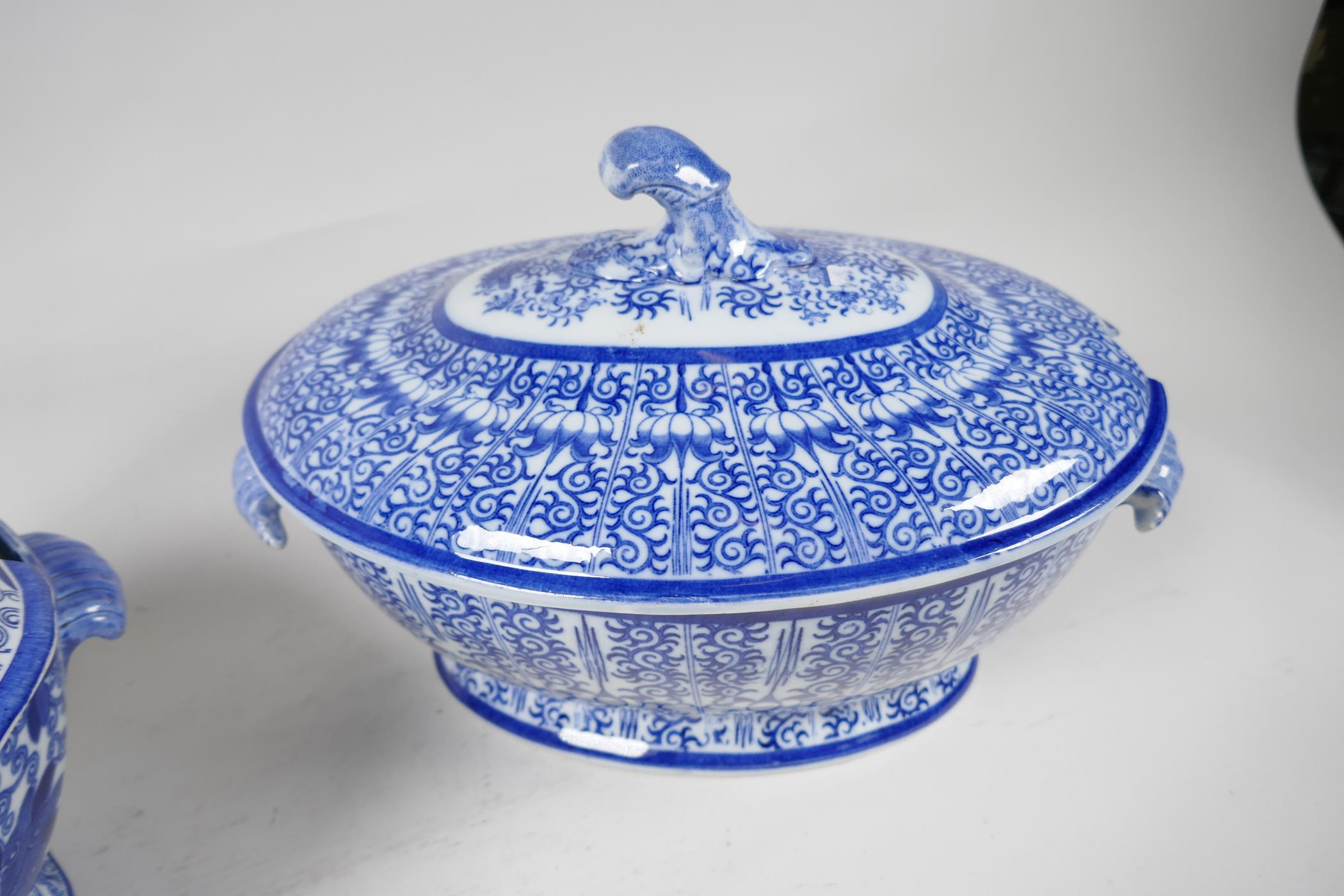 """A C19th blue and white soup tureen by Adams, 13"""" long, and another similar - Image 3 of 5"""