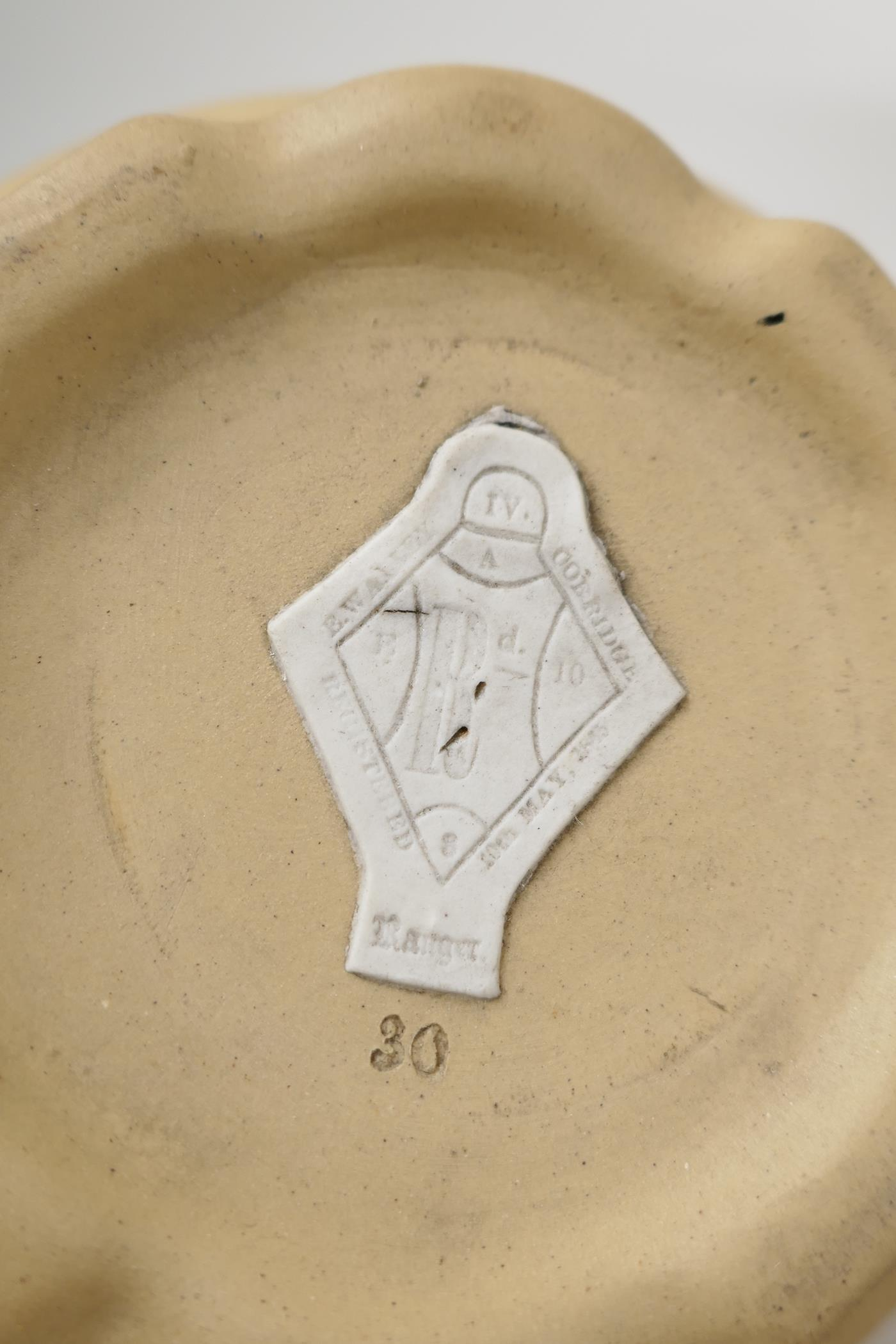 """A C19th pottery jug embossed with hunting figures and fruiting grape vine, lozenge mark to base, 5½"""" - Image 4 of 8"""