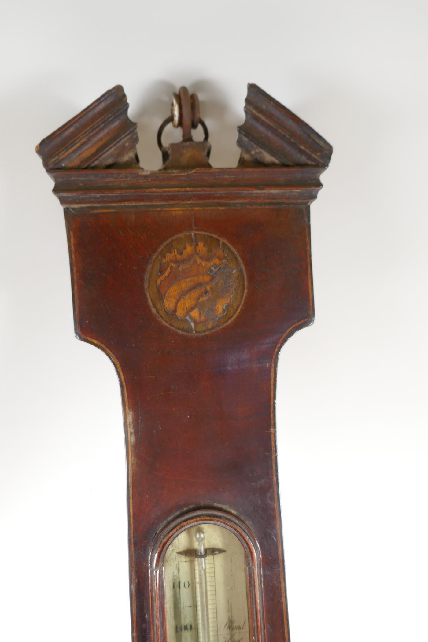 """A C19th mahogany cased barometer/thermometer with broken pediment and shell inlay, 38"""" long (tubes - Image 2 of 6"""
