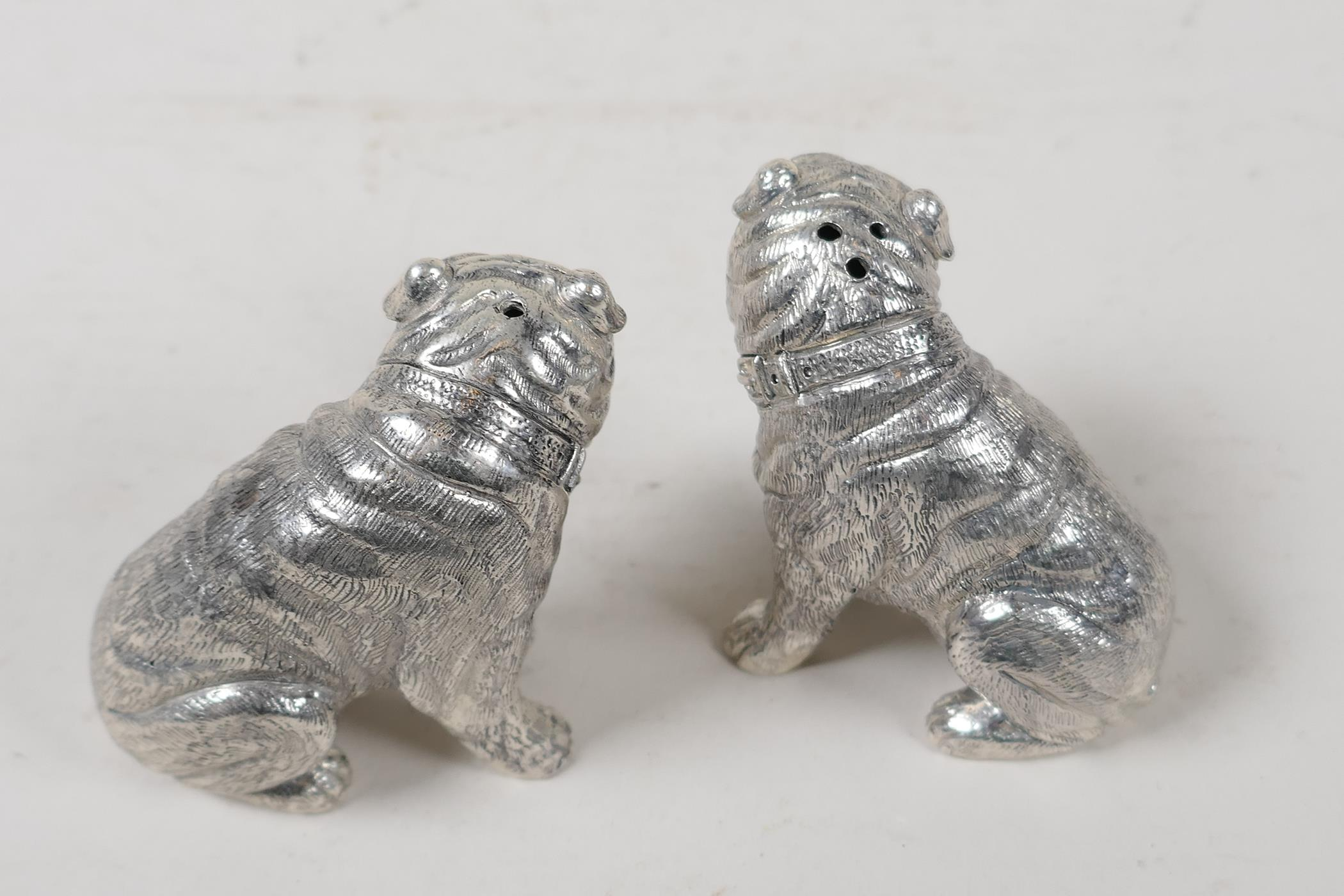 """A pair of silver plated condiments in the form of bulldogs, marked 800 to base, 2½"""" high - Image 2 of 3"""