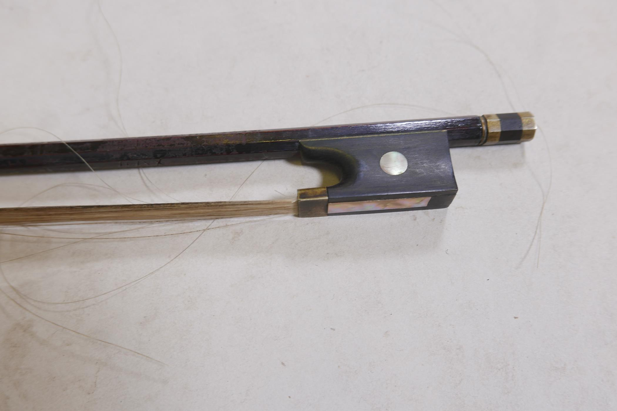 """An antique violin and bow in case, bears label Andreas Amati fecit, Cremonae anno 1604, back 14½"""" - Image 11 of 14"""