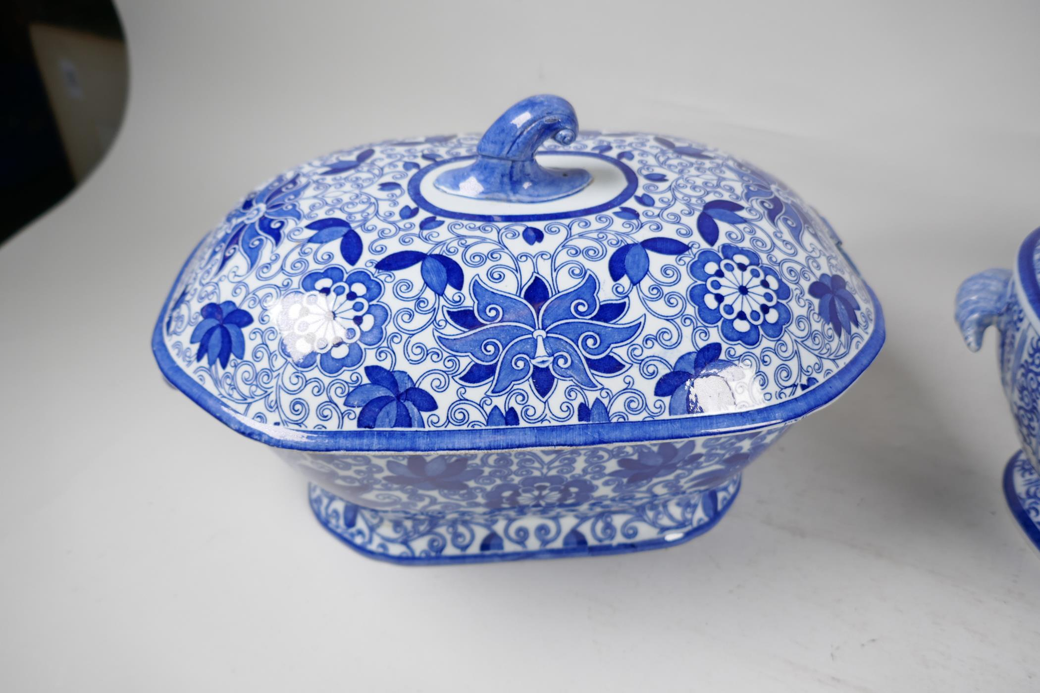 """A C19th blue and white soup tureen by Adams, 13"""" long, and another similar - Image 2 of 5"""