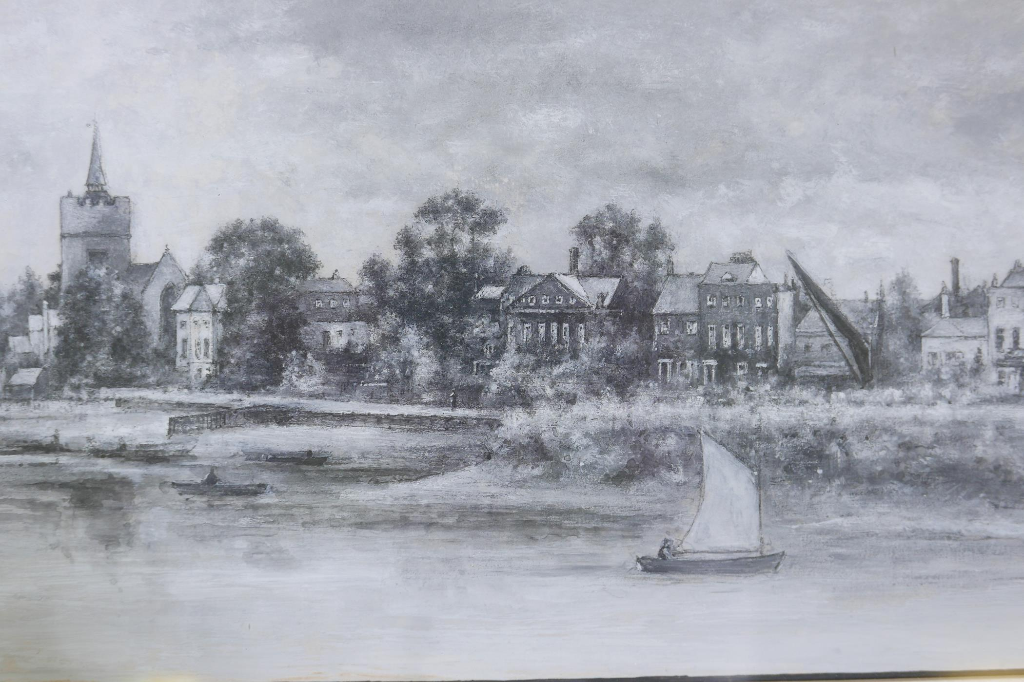 """A.W. Henley, View of the Thames at Hammersmith with The Dove public house, signed gouache, 11 """" x - Image 3 of 5"""