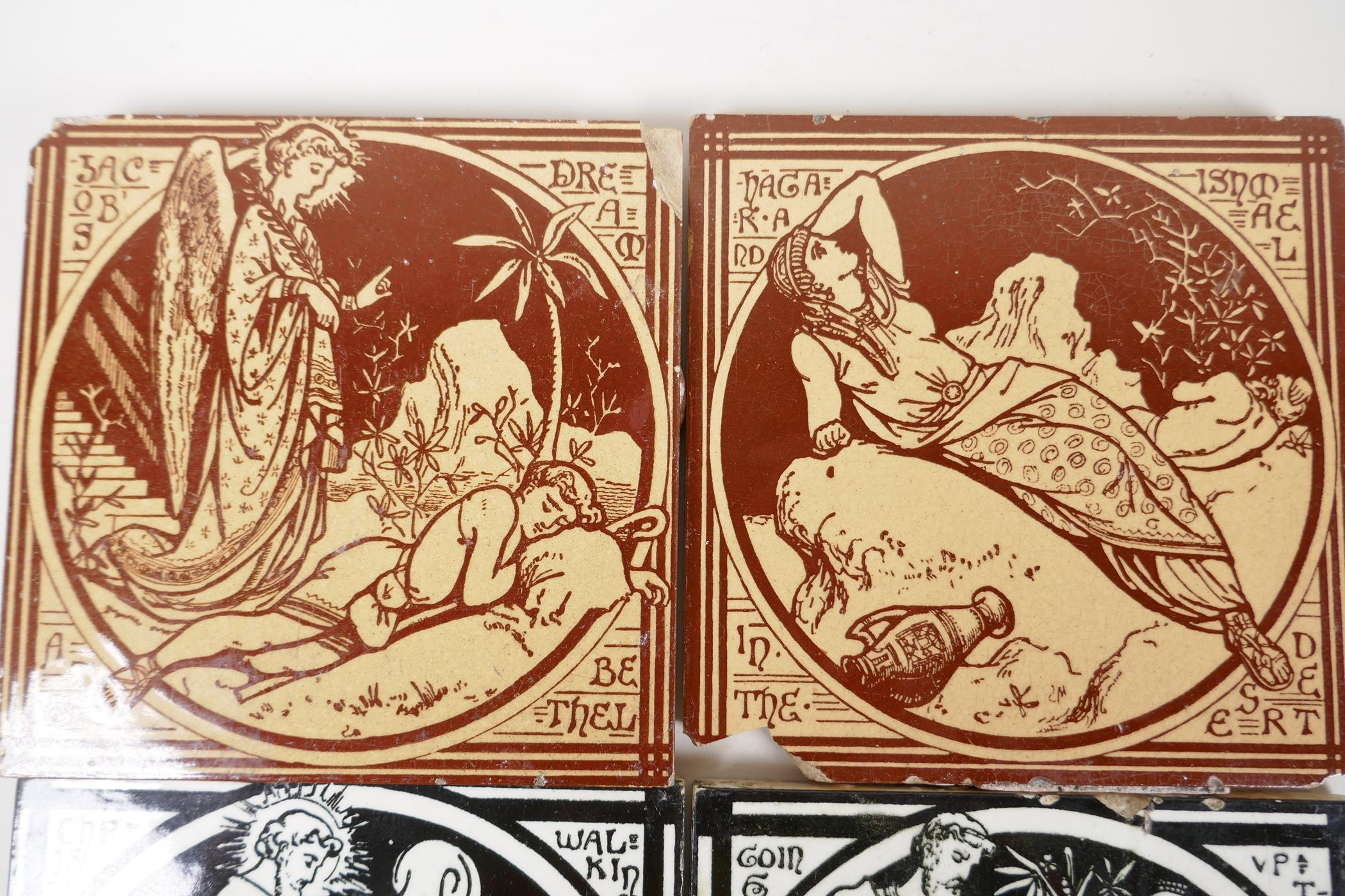 """A pair of Minton tiles, 'Jacobs Dreams', 6"""" square, along with two others, 'Going up to Jerusalem' - Image 2 of 3"""