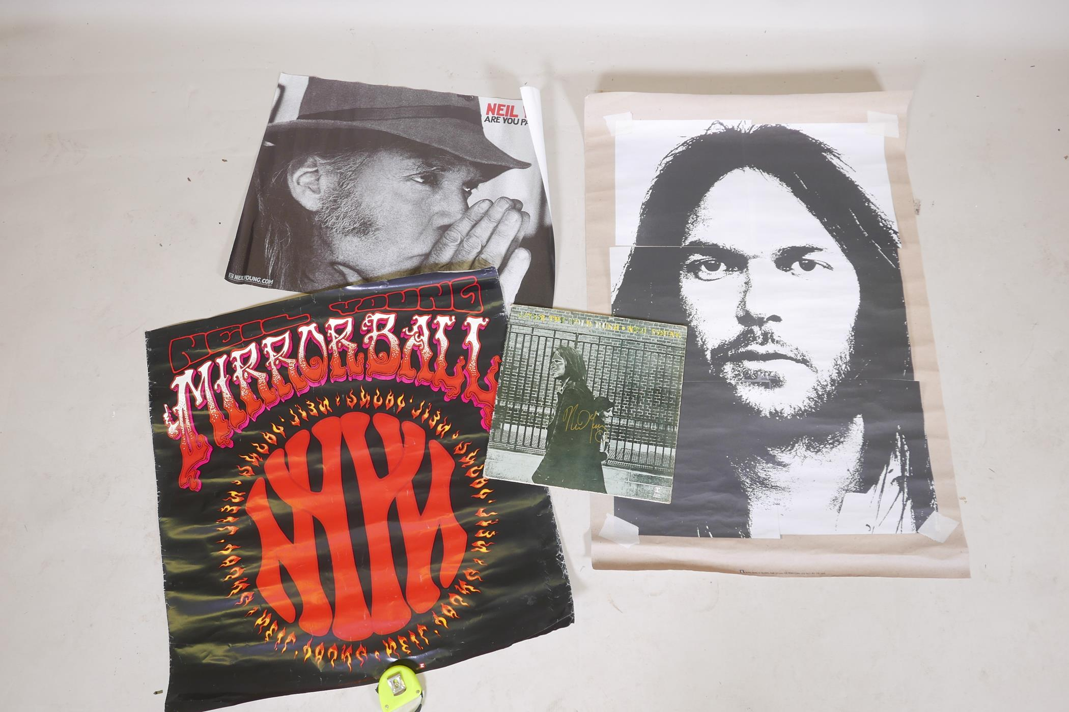 """'After the Gold Rush' 12"""" vinyl, the cover signed by Neil Young, with three Neil Young posters"""