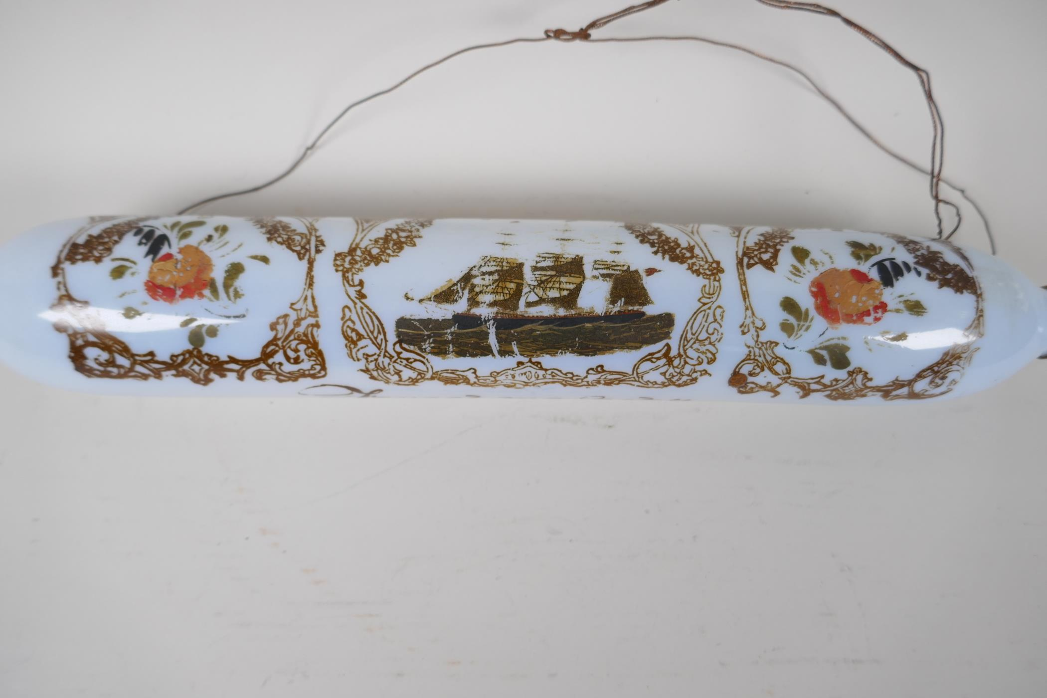 """A Victorian milk glass rolling pin, painted with flowers and a three masted ship, 14"""" long - Image 2 of 5"""
