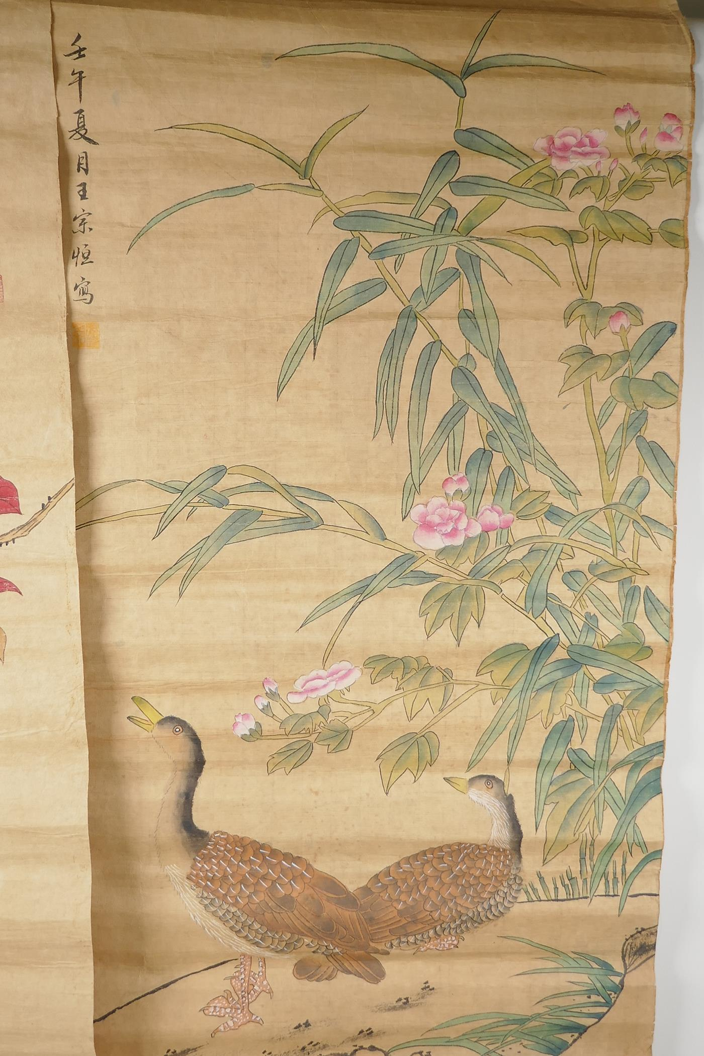 A Chinese watercolour scroll depicting waterfowl and flowers, and another similar with birds and - Image 2 of 3