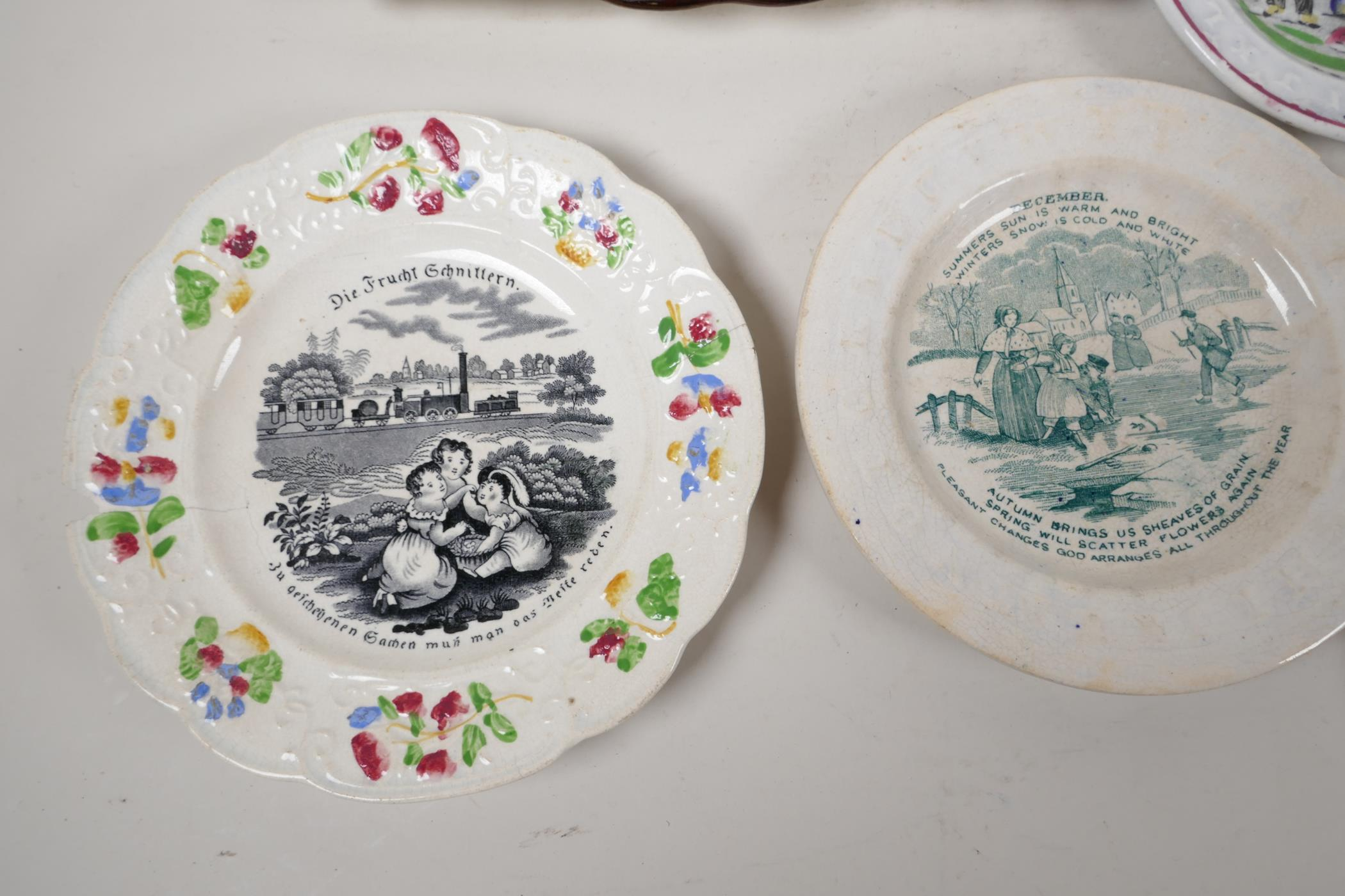 """A collection of C19th lustreware porcelain to include a Sunderland 'Flying Cloud' plaque, 9"""" x - Image 5 of 7"""