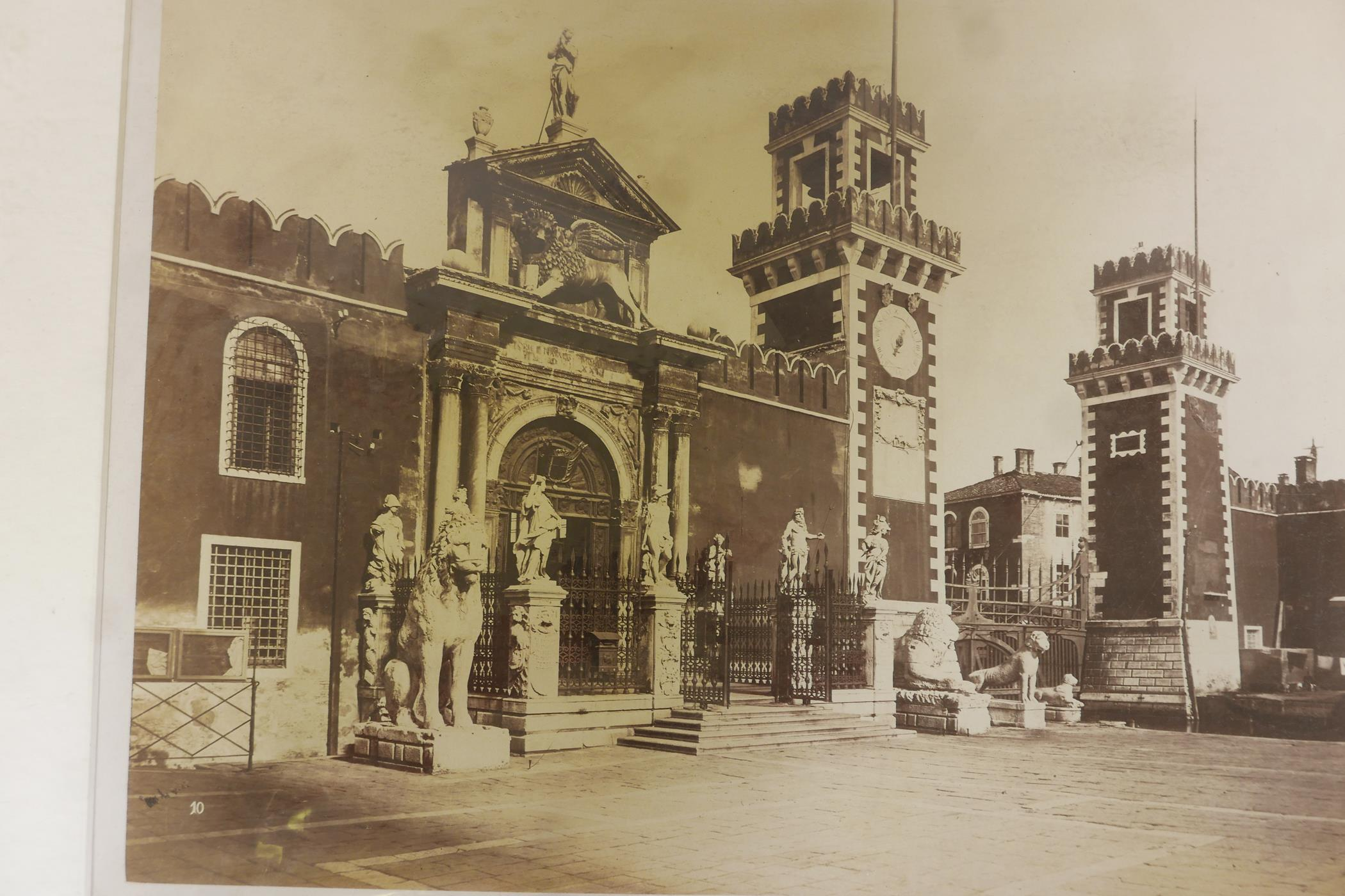 Three original sepia photographs of C19th Venice, Piazza di San Marco, the Basilica and the Arsenal, - Image 3 of 5