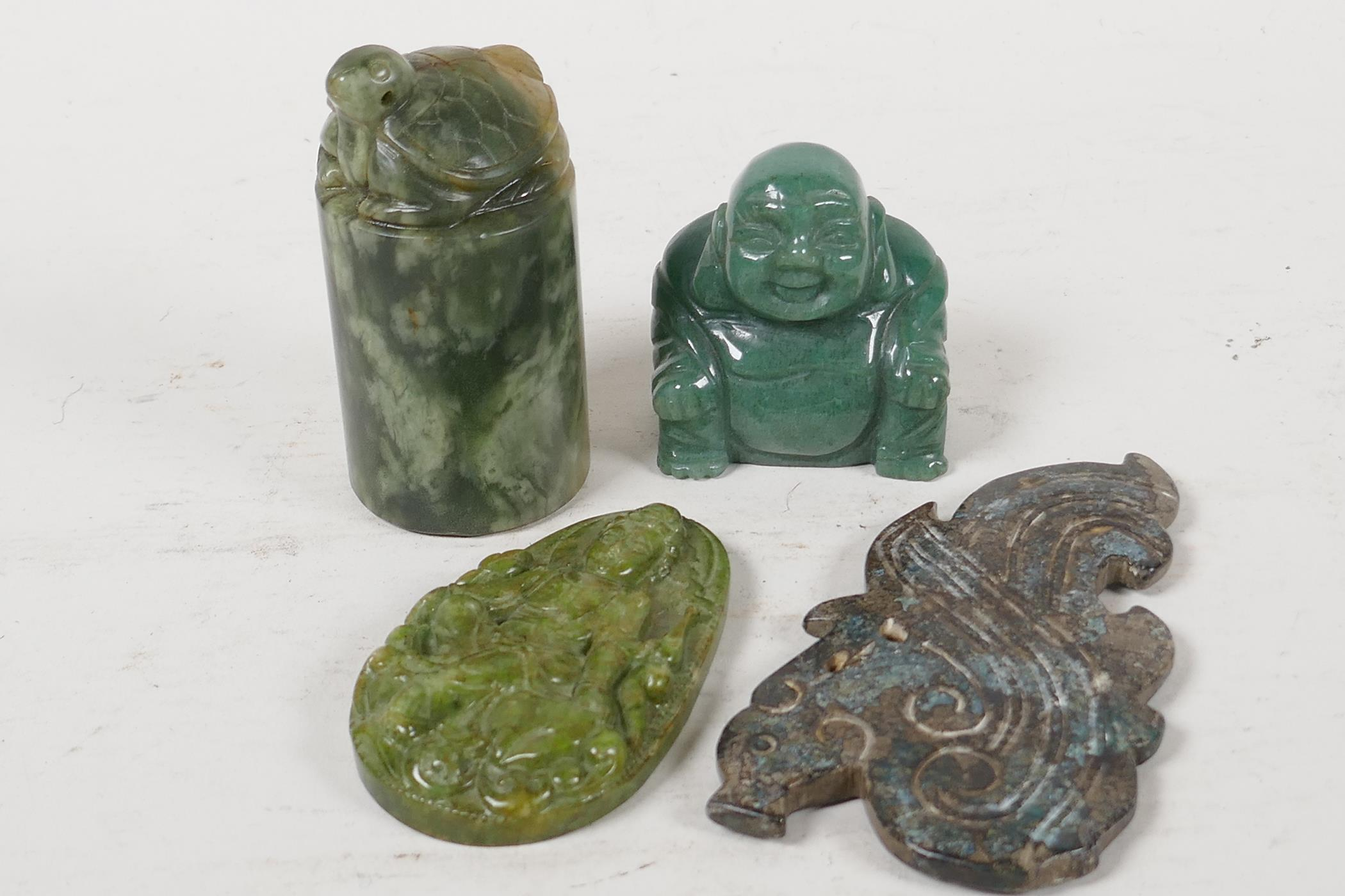 """A Chinese carved hardstone seal blank topped with a tortoise, 3"""" long, and two carved hardstone"""