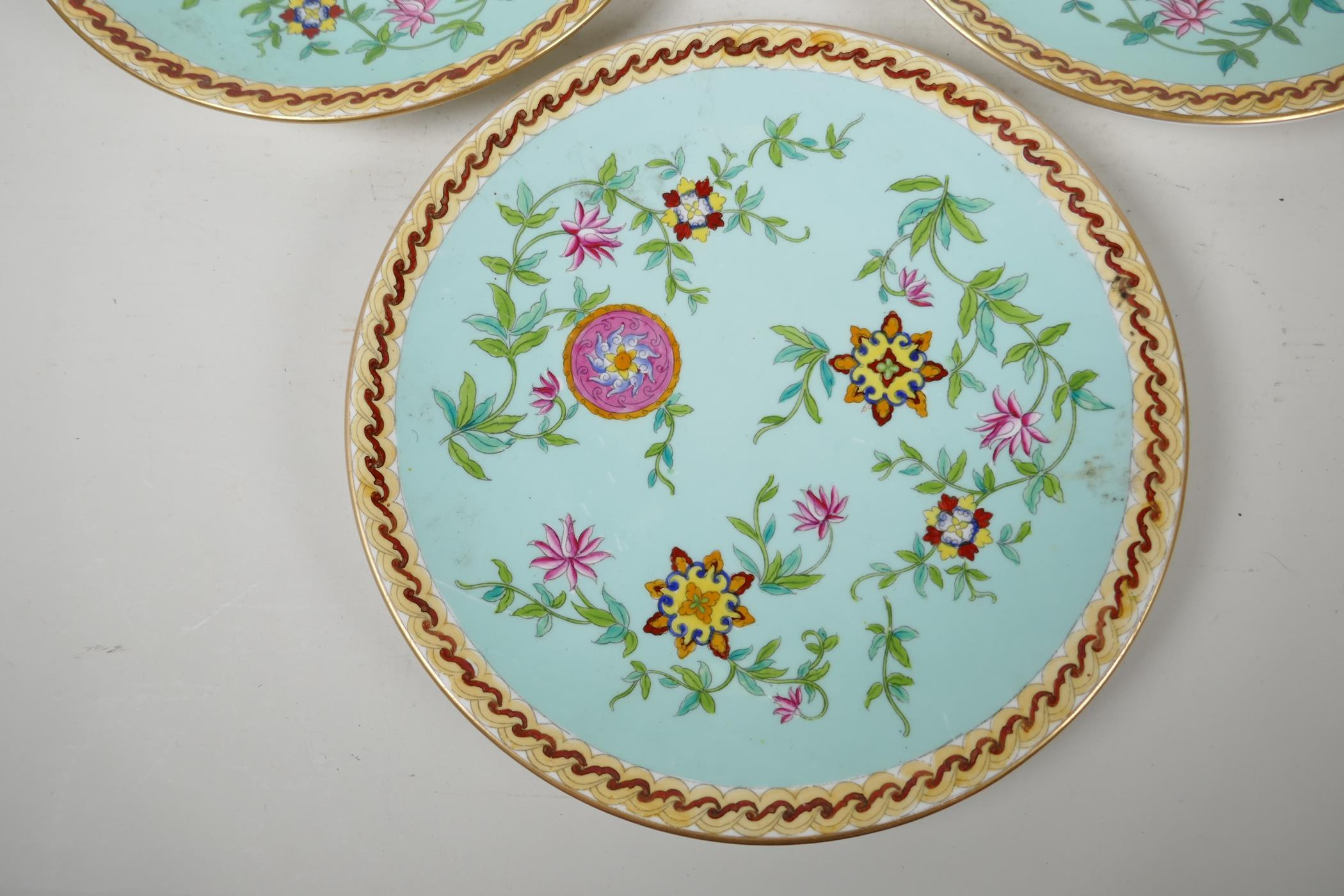 """Three continental porcelain plates decorated in the Oriental manner, 9½"""" diameter - Image 3 of 3"""