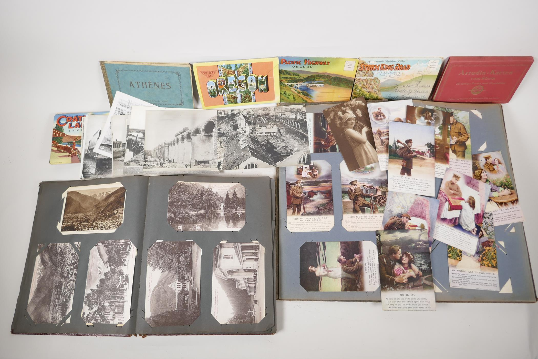 A quantity of C20th postcards, mostly WWI sweetheart cards, and French topographical, and a