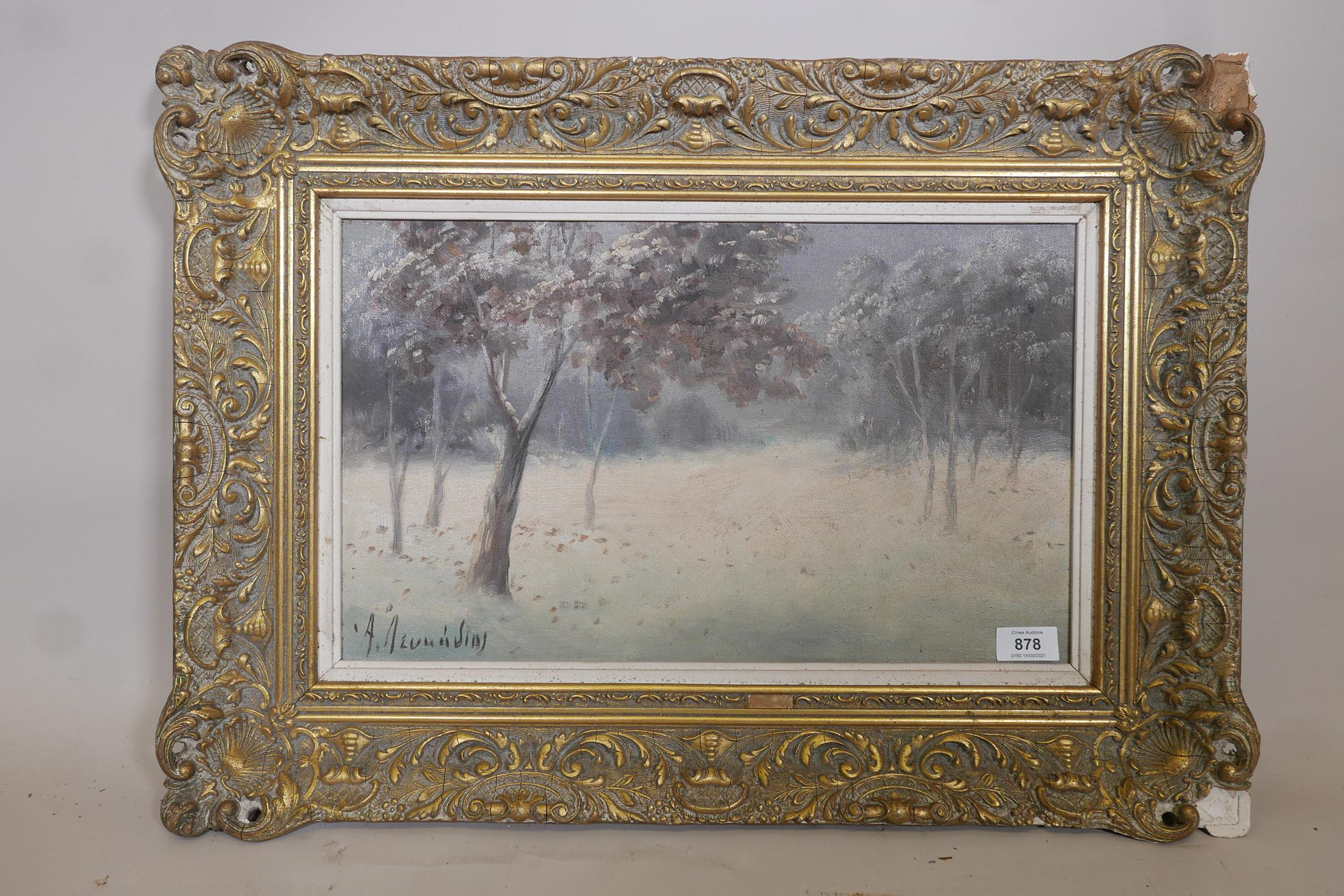 """Winter landscape, oil on board, signed A. Leukedios ?, Greek, early C20th, 18"""" x 11"""" - Image 2 of 5"""