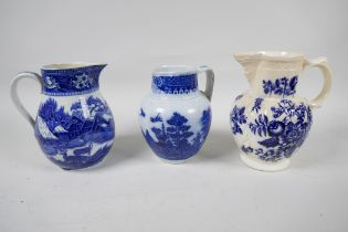 """An early C19th blue and white pottery jug decorated in the Pagoda pattern, 5"""" high, together with"""