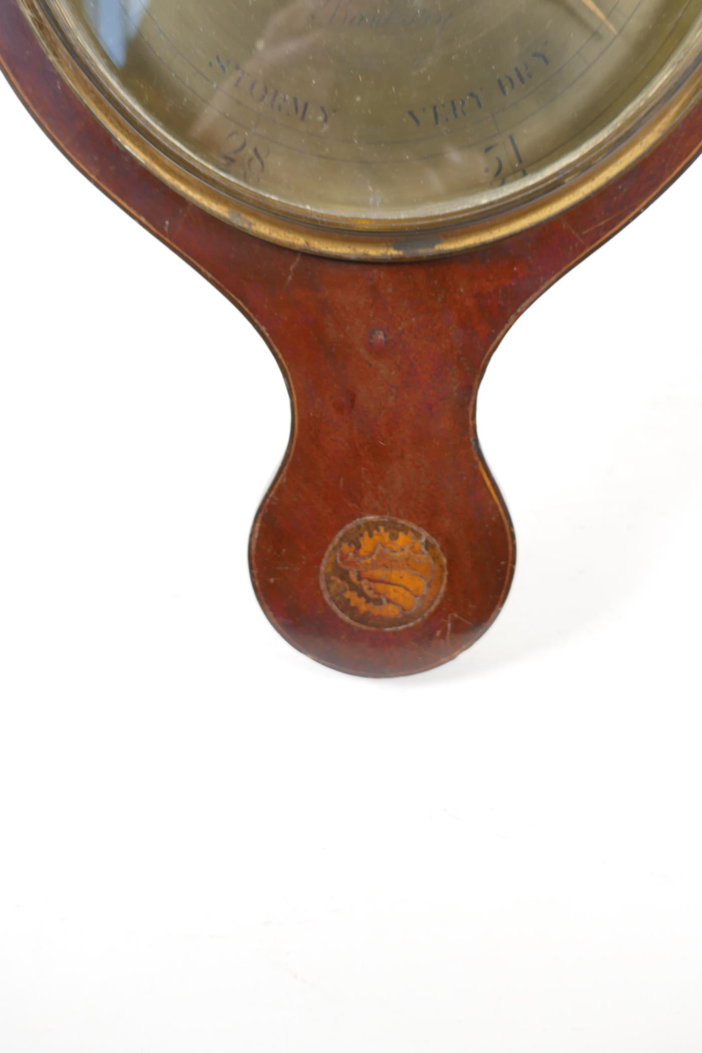 """A C19th mahogany cased barometer/thermometer with broken pediment and shell inlay, 38"""" long (tubes - Image 6 of 6"""