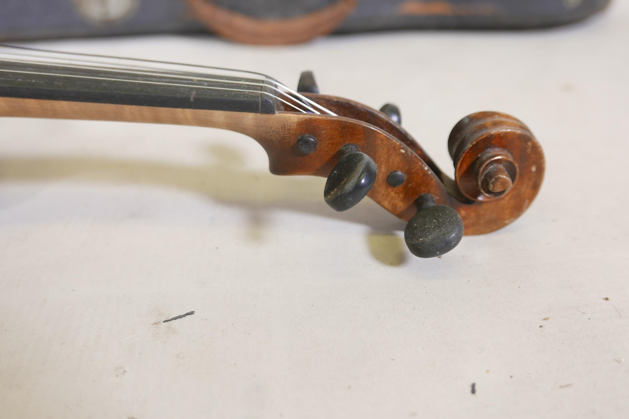 """A vintage violin and bow in case, 14½"""" back including button, 23½"""" long - Image 8 of 15"""