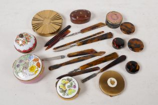 A collection of late C19th/early C20th faux tortoiseshell manicure tools and make up pots, two
