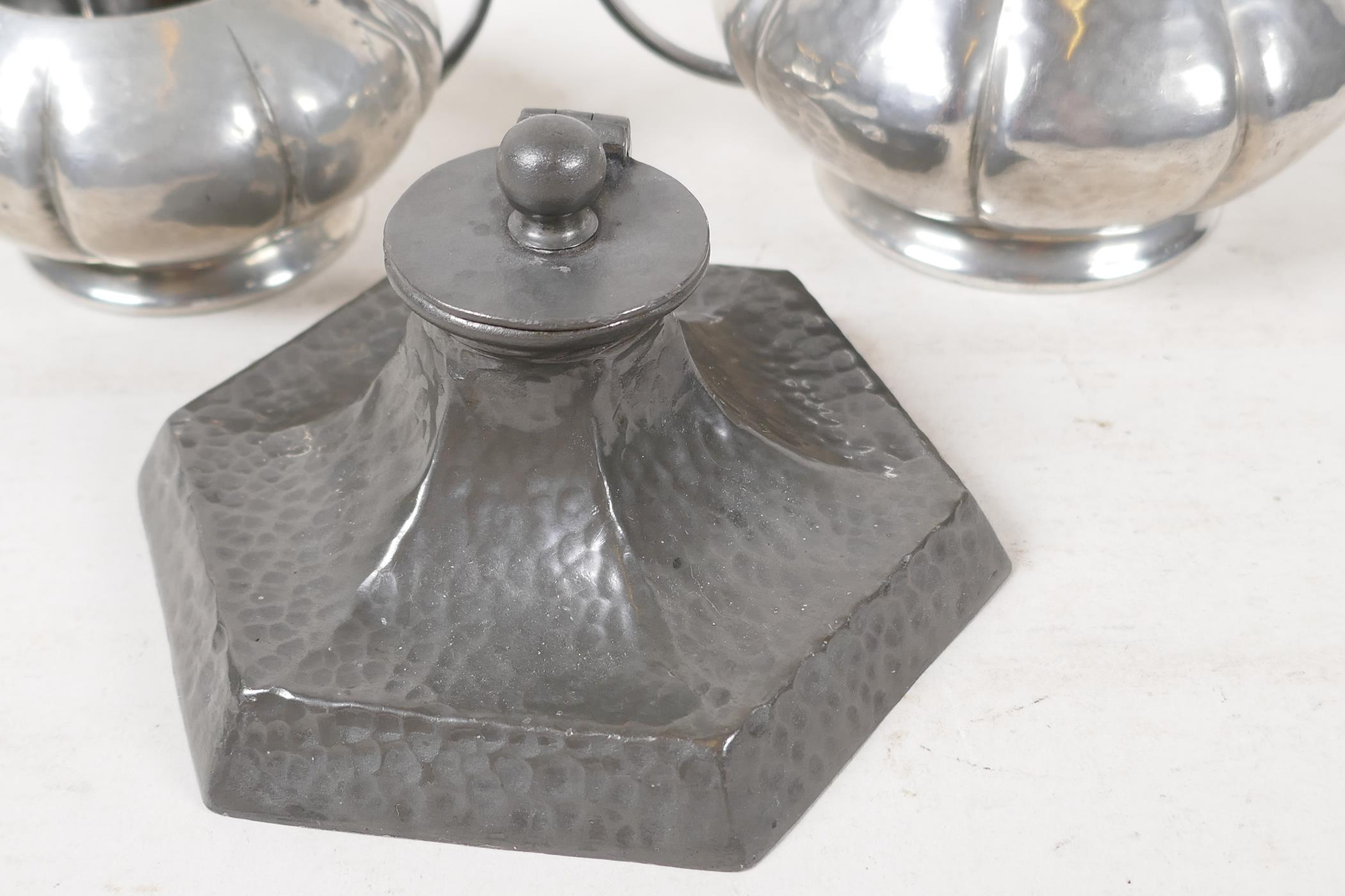"""An Arts & Crafts pewter inkwell by Talbot Pewter Co, 4½"""" wide, together with a Tudric pewter sugar - Image 2 of 4"""