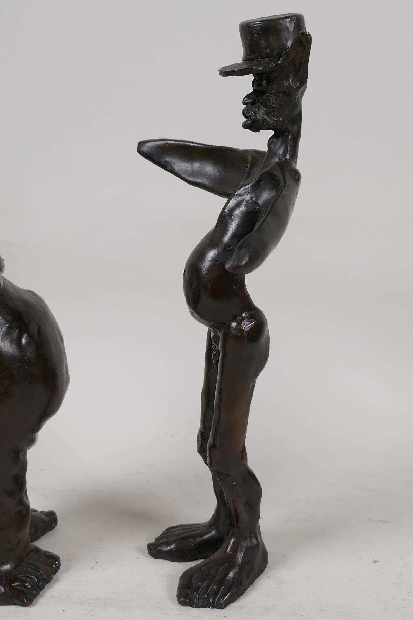 """Two Guido Mariani contemporary bronze figures, signed, tallest 10"""" - Image 5 of 7"""