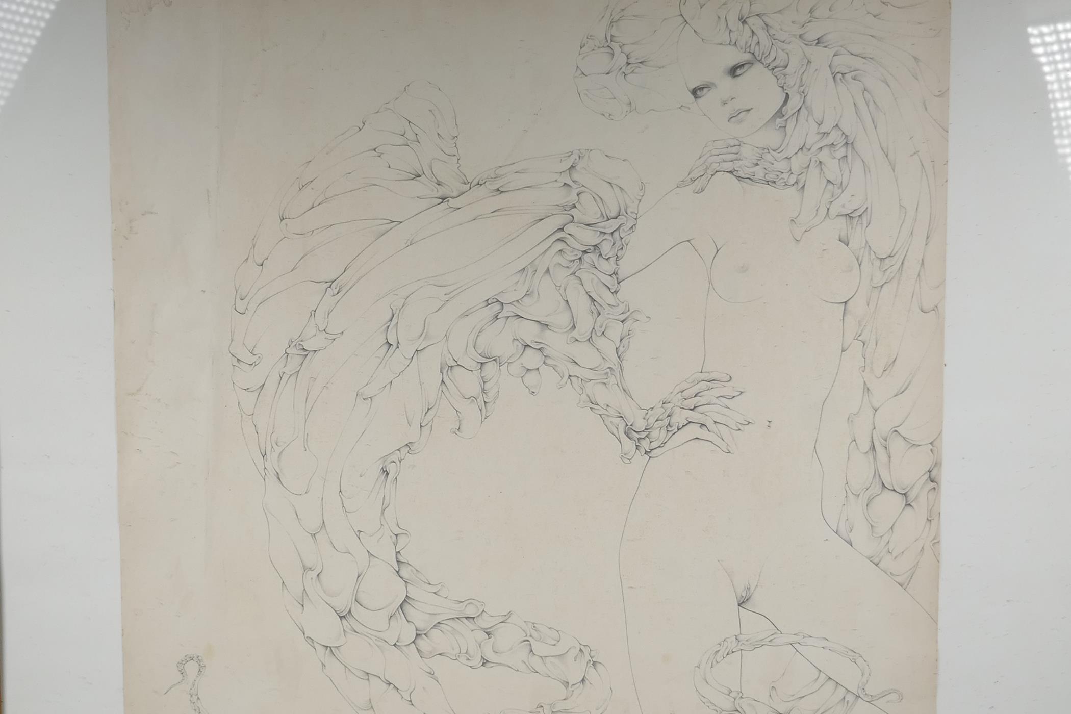 """After Gilles Rimbault, Studio 69, erotic surrealist art print, stamped, 23"""" x 23"""" - Image 2 of 4"""