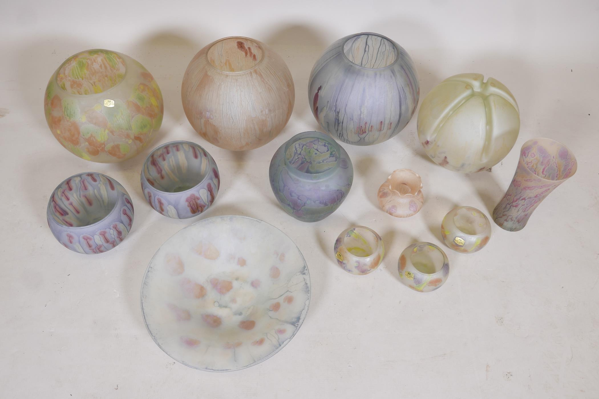 A quantity of Israeli hand painted studio glass to include lamp shades, vases, bowls and dishes, - Image 2 of 8