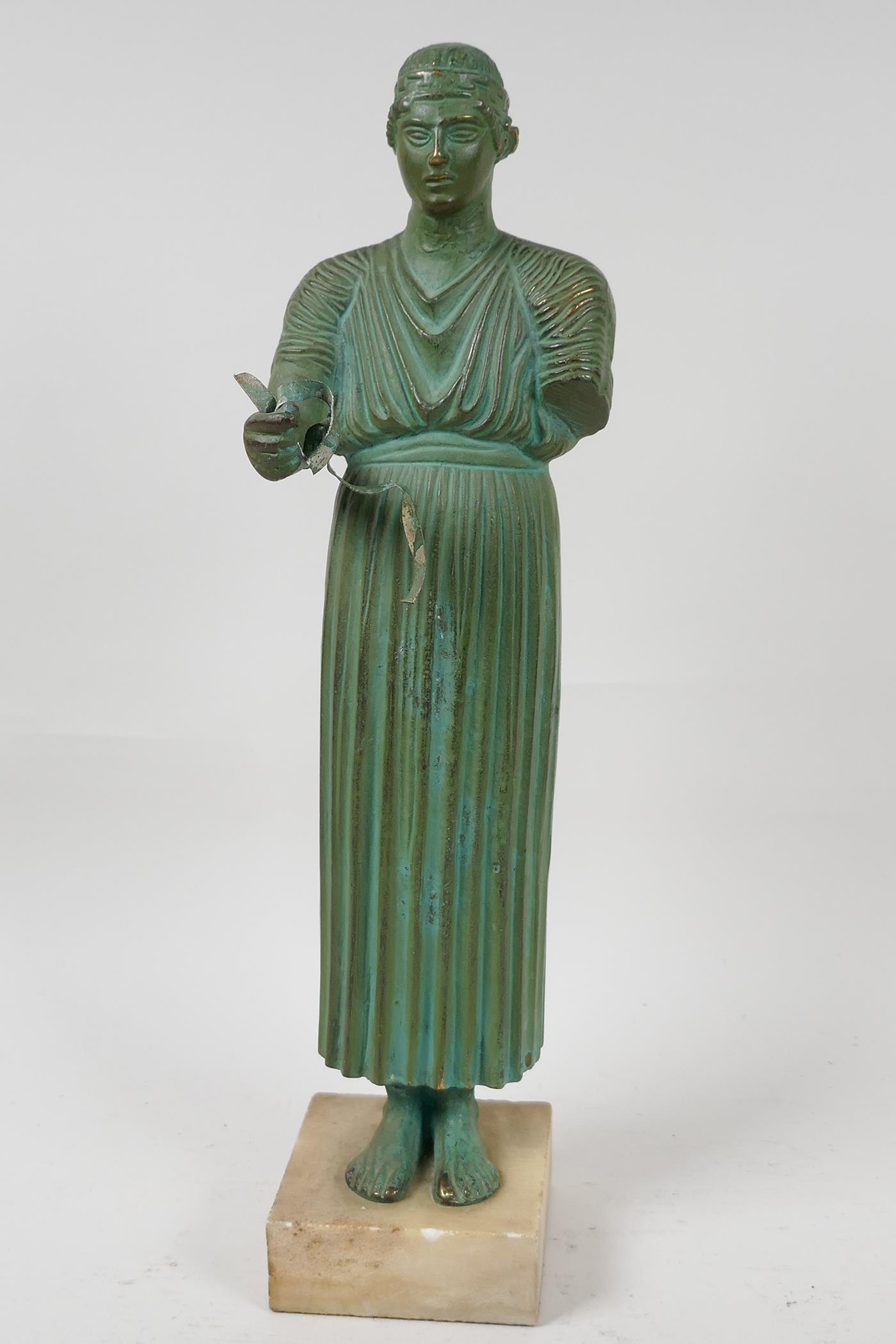 """A bronze figure of a Greek philospher, after the antique, 13½"""" high"""