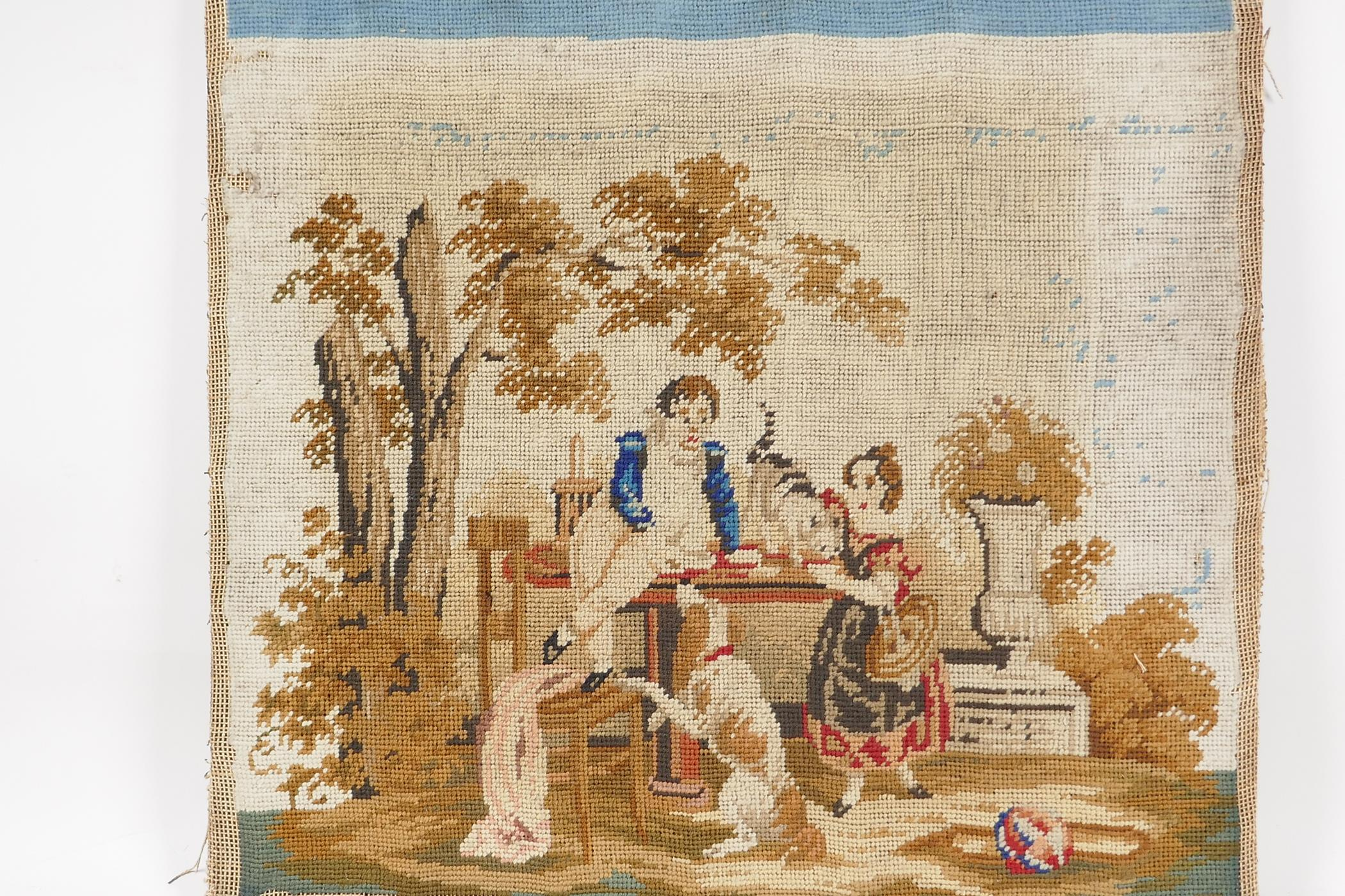 """A C19th woolwork, children at a table with dog and cat, 15"""" square"""